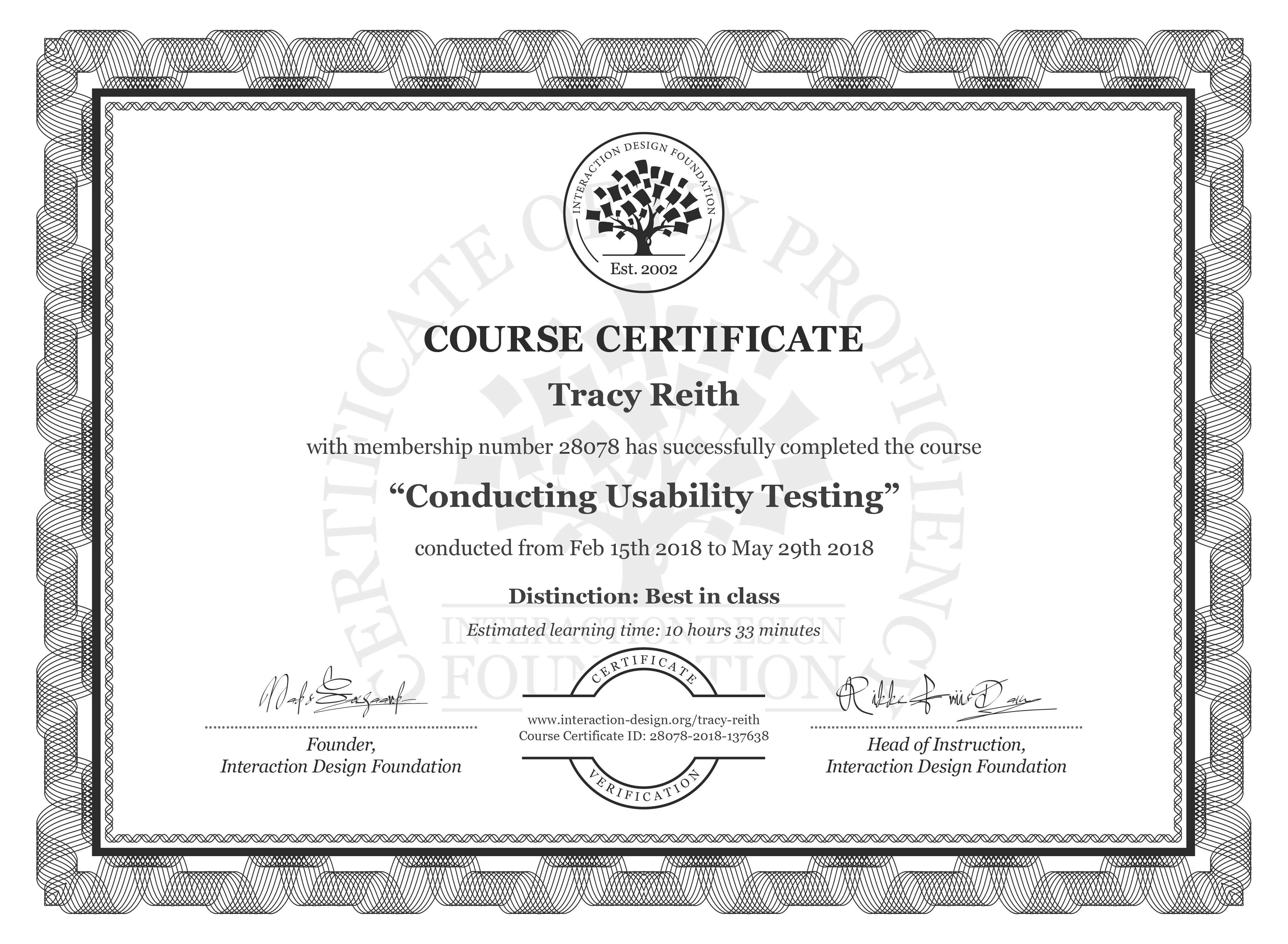 Tracy Reith's Course Certificate: Conducting Usability Testing
