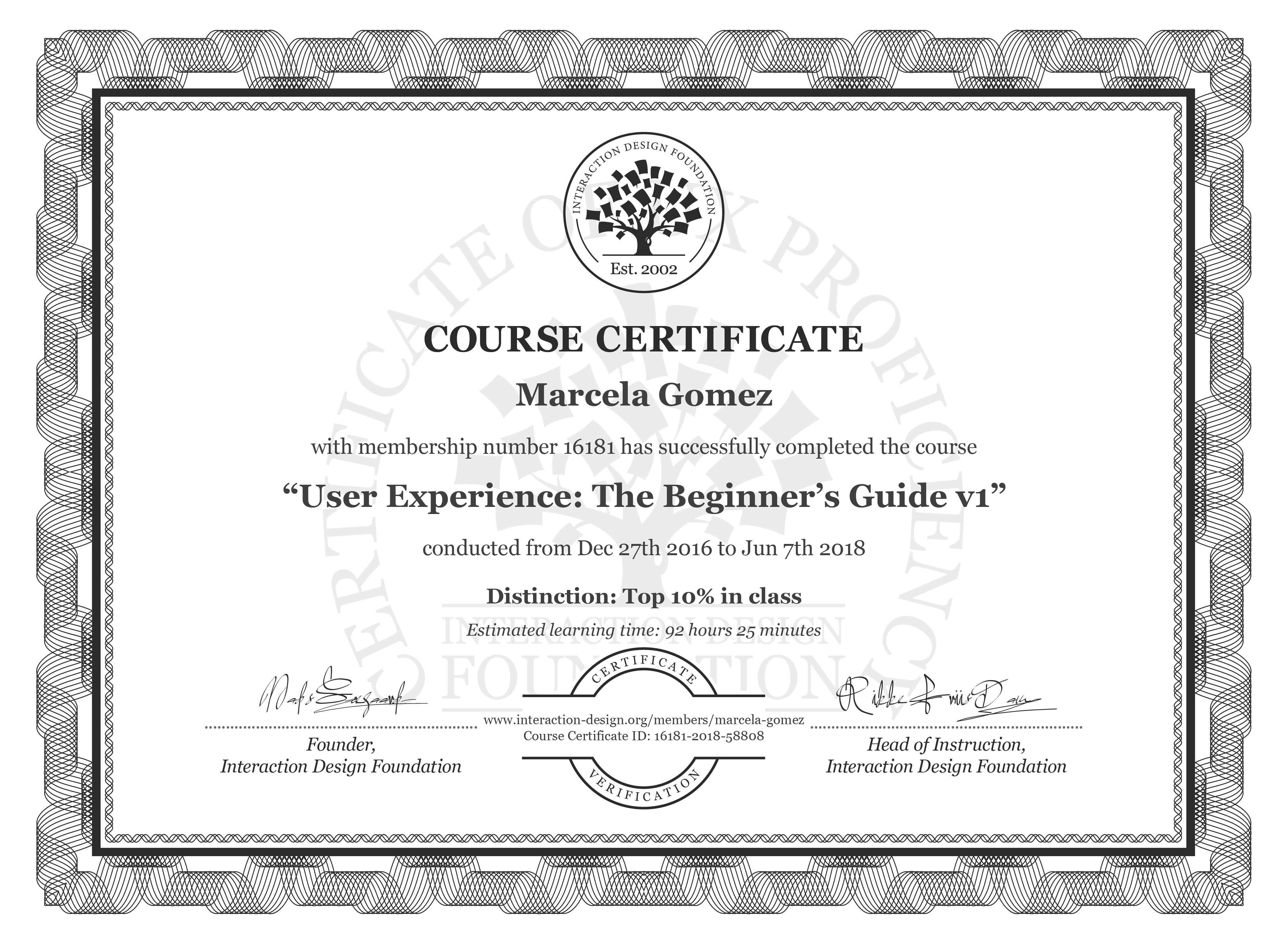 Marcela Gómez: Course Certificate - User Experience: The Beginner's Guide