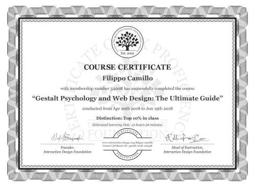 Filippo Camillo's Course Certificate: Gestalt Psychology and Web Design: The Ultimate Guide