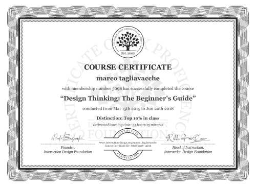 marco tagliavacche's Course Certificate: Design Thinking: The Beginner's Guide
