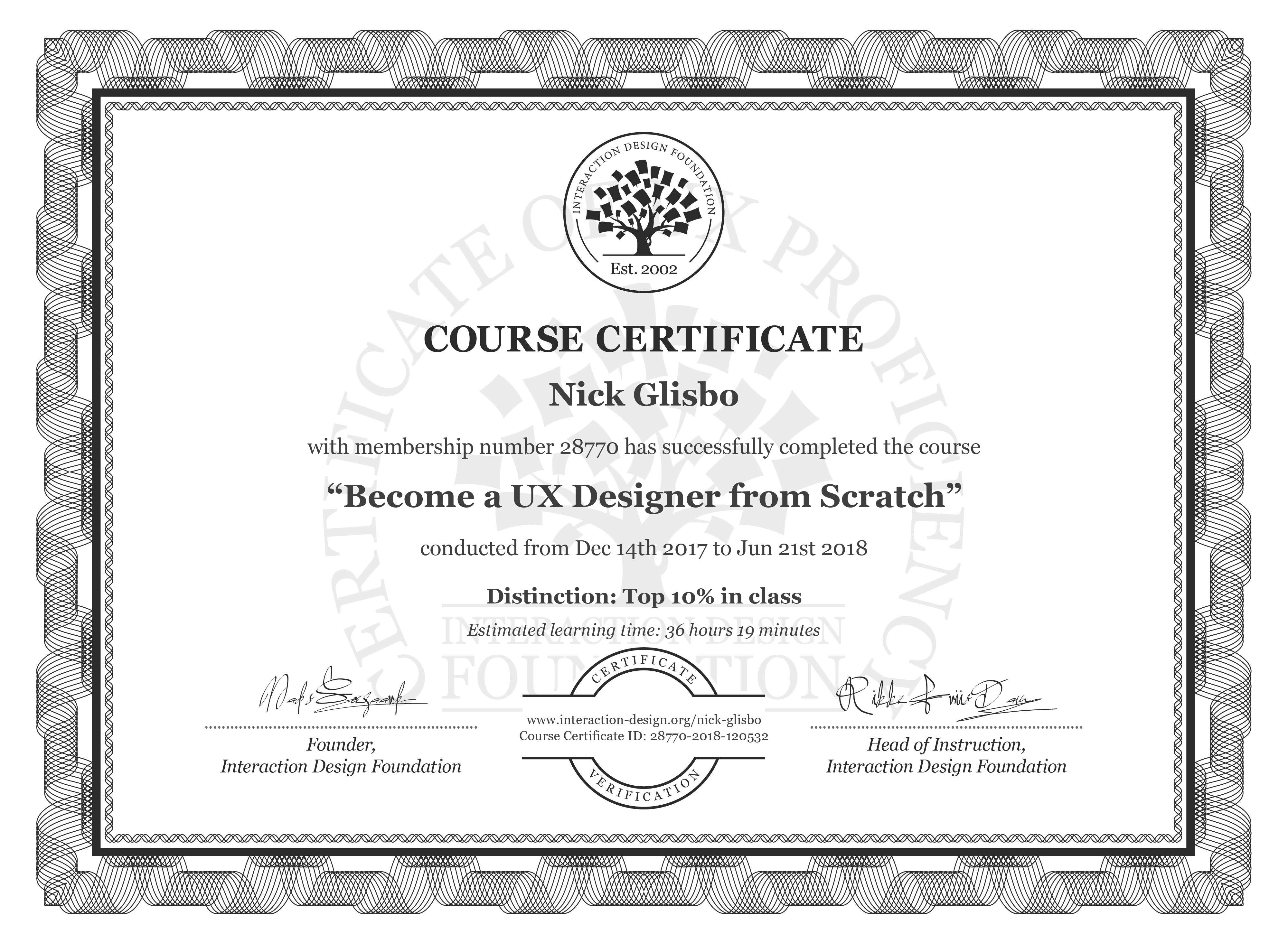 Nick Glisbo: Course Certificate - Become a UX Designer from Scratch