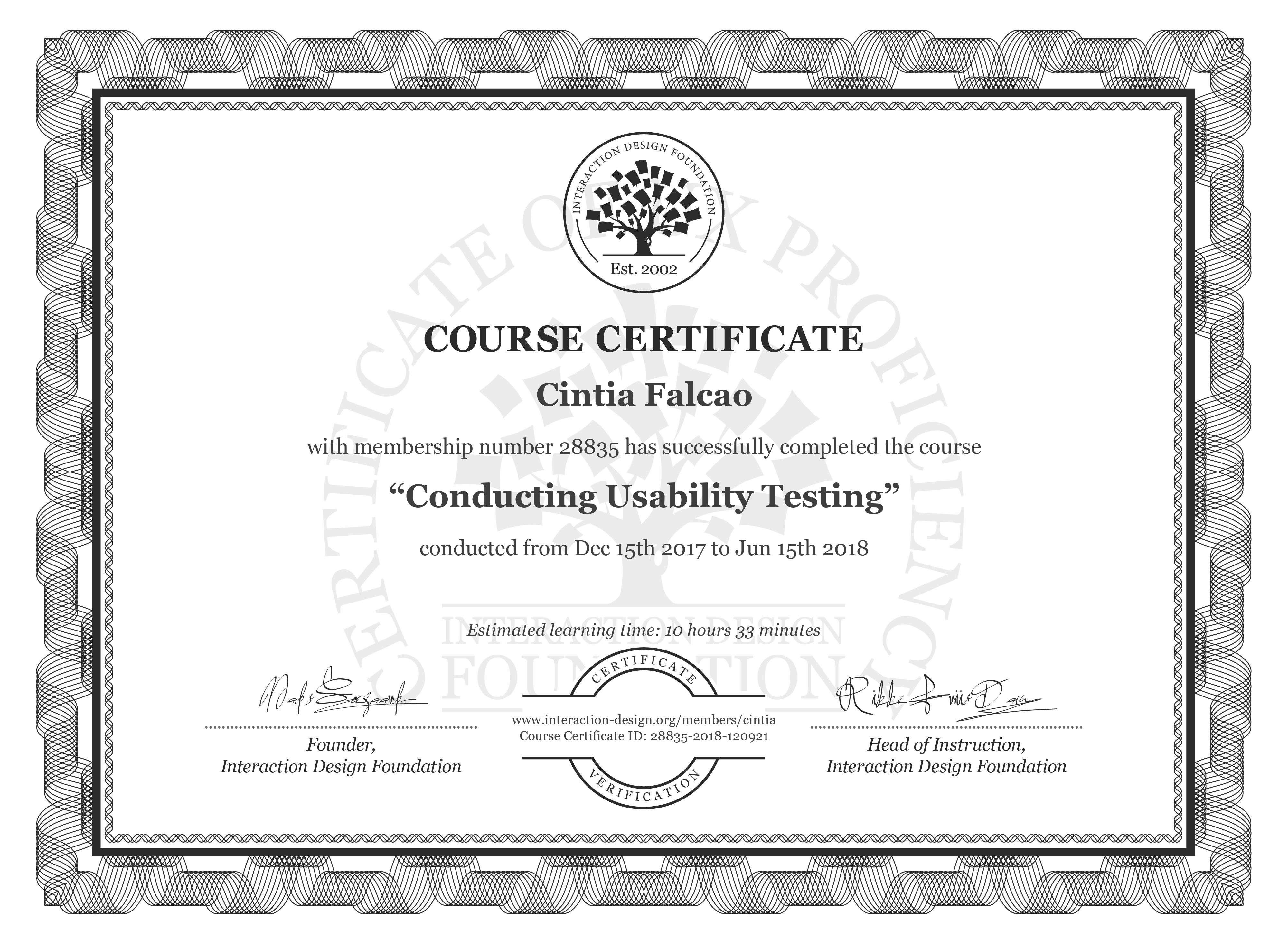 Cíntia Falcão's Course Certificate: Conducting Usability Testing