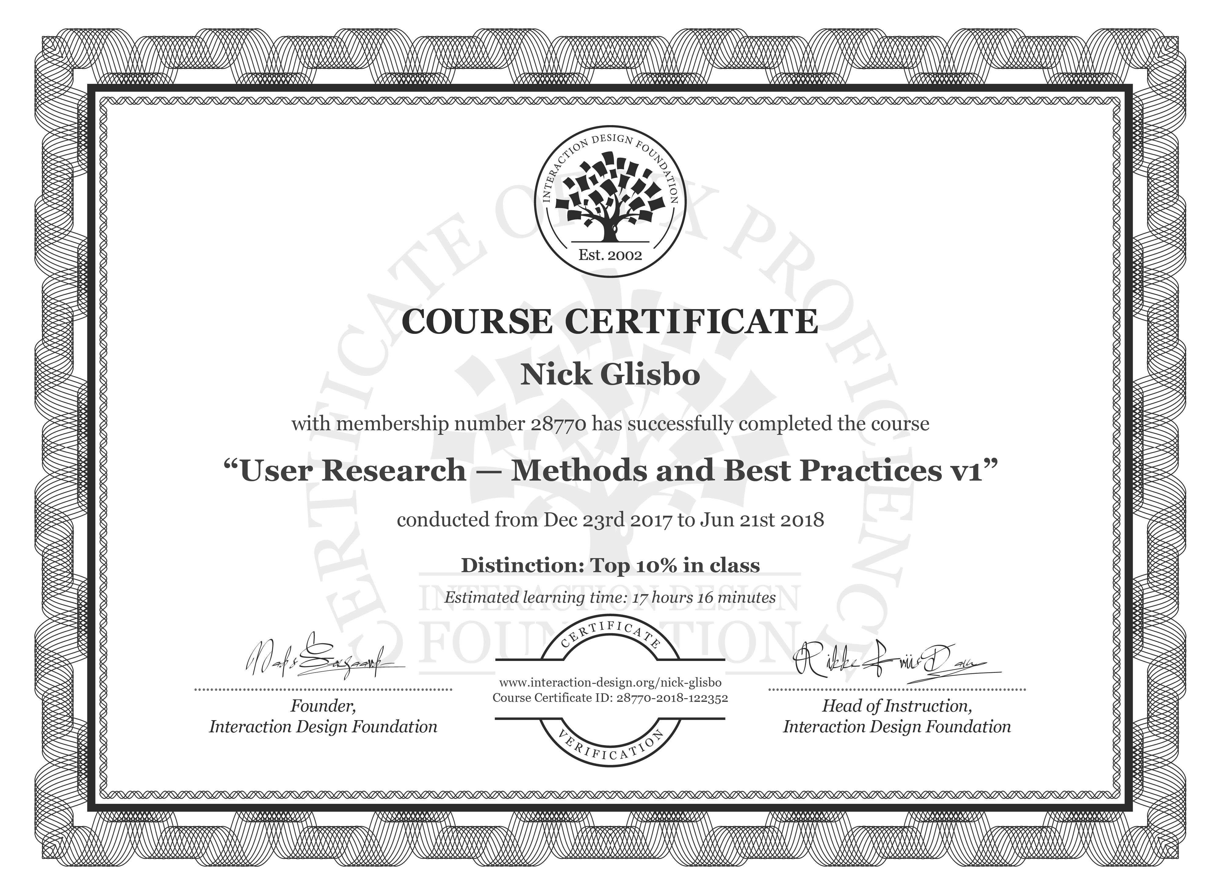 Nick Glisbo: Course Certificate - User Research — Methods and Best Practices
