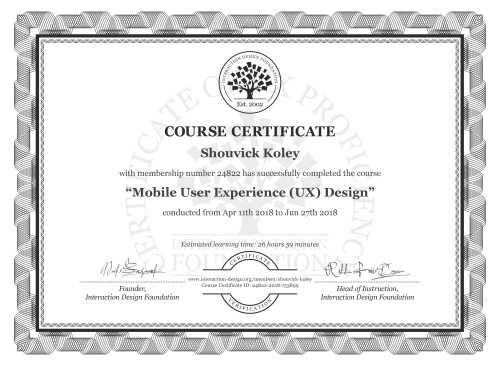Shouvick Koley's Course Certificate: Mobile User Experience (UX) Design