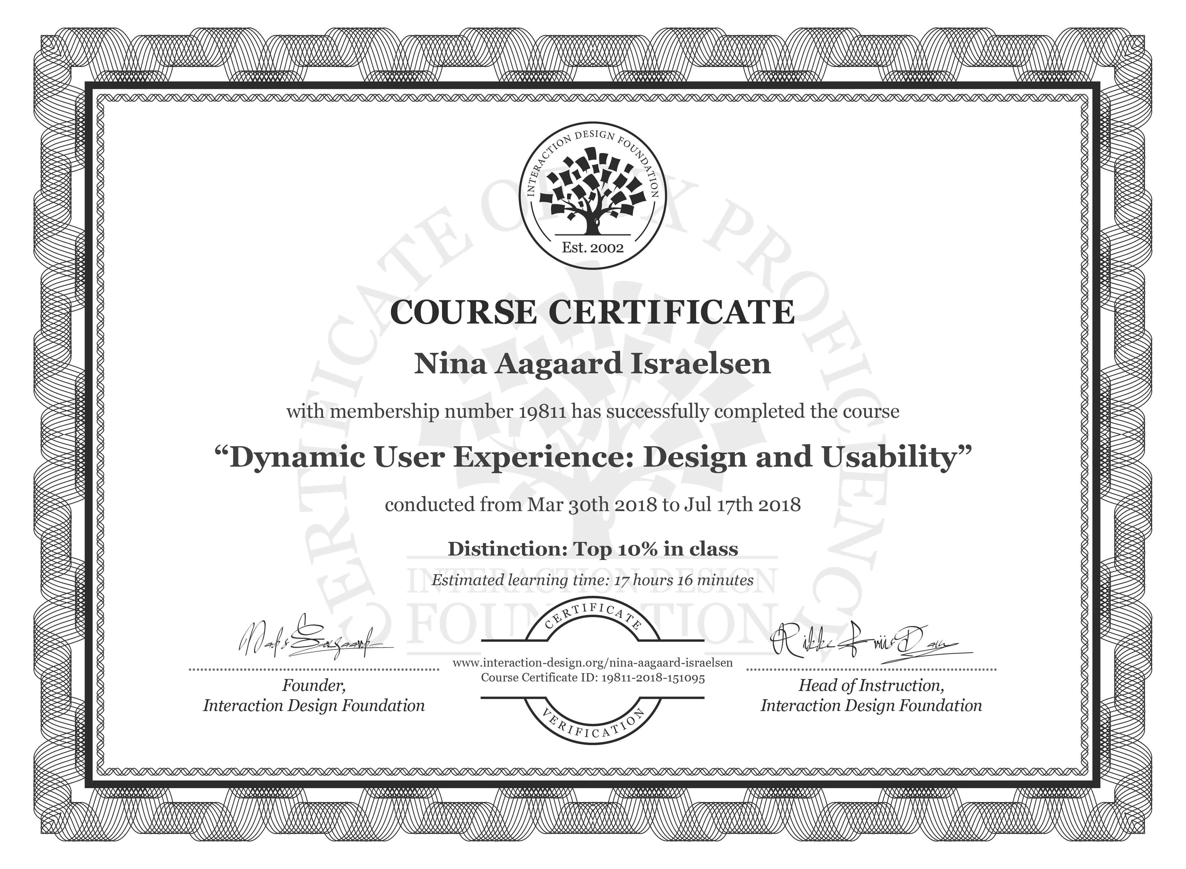 Nina Aagaard Israelsen's Course Certificate: Dynamic User Experience: Design and Usability