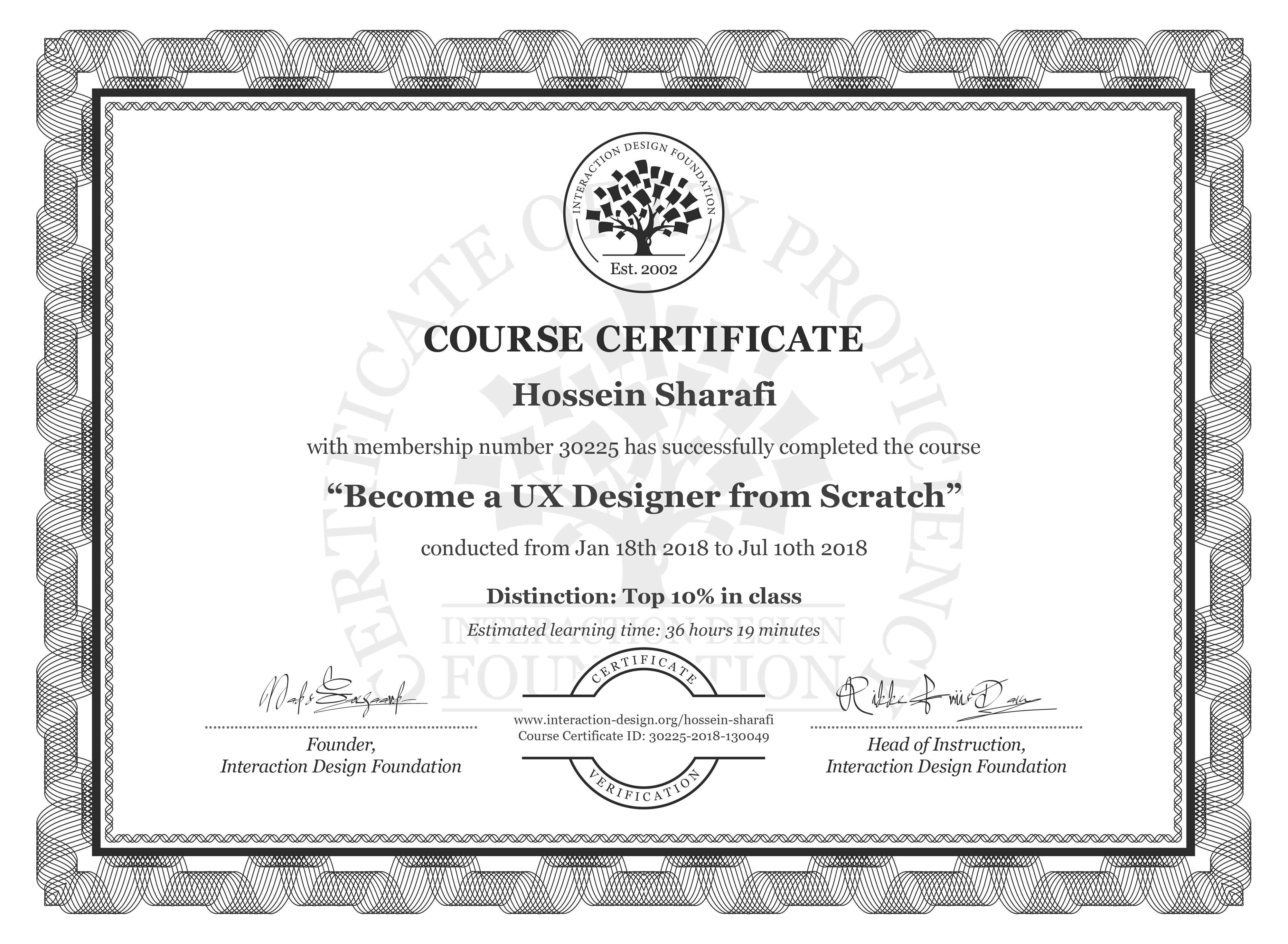 Hossein Sharafi's Course Certificate: Become a UX Designer from Scratch