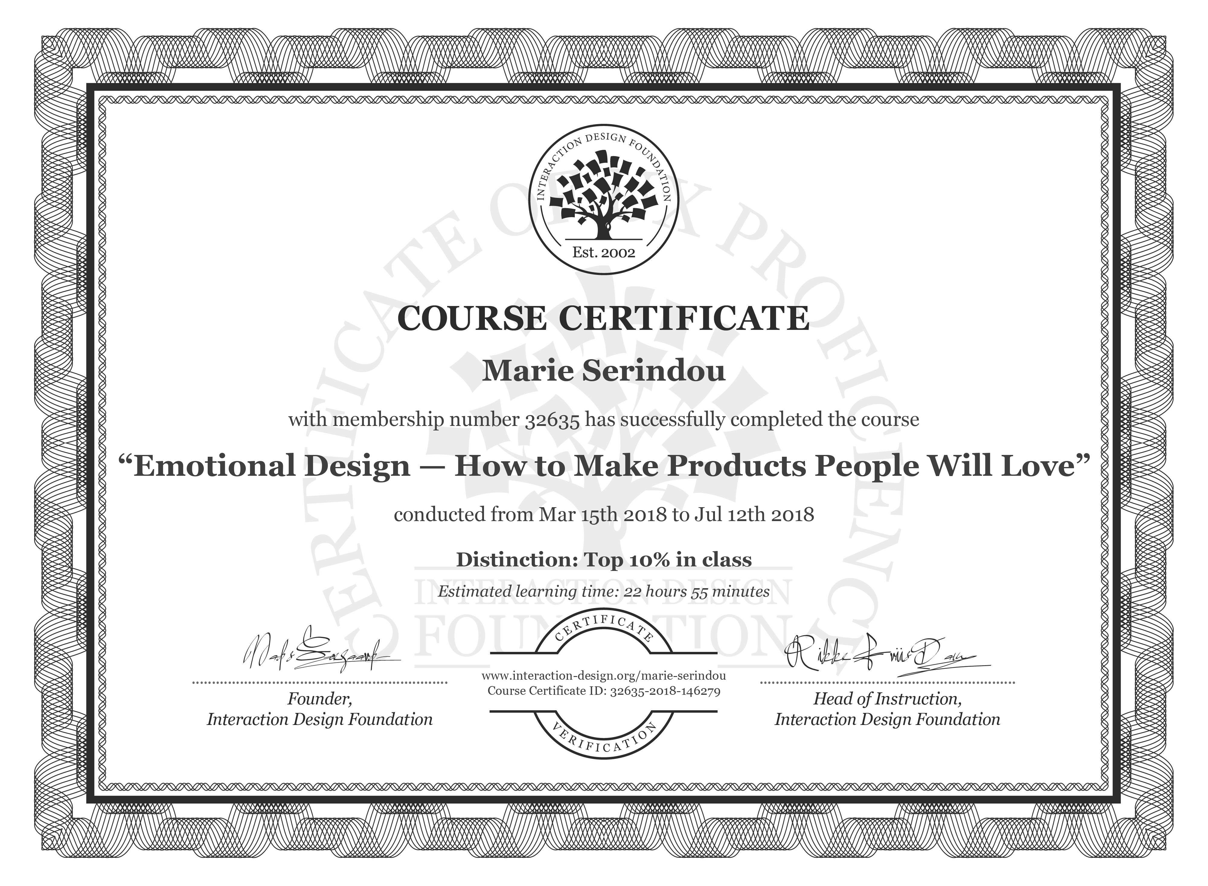 Marie Serindou: Course Certificate - Emotional Design — How to Make Products People Will Love