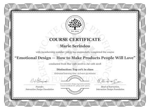 Marie Serindou's Course Certificate: Emotional Design — How to Make Products People Will Love