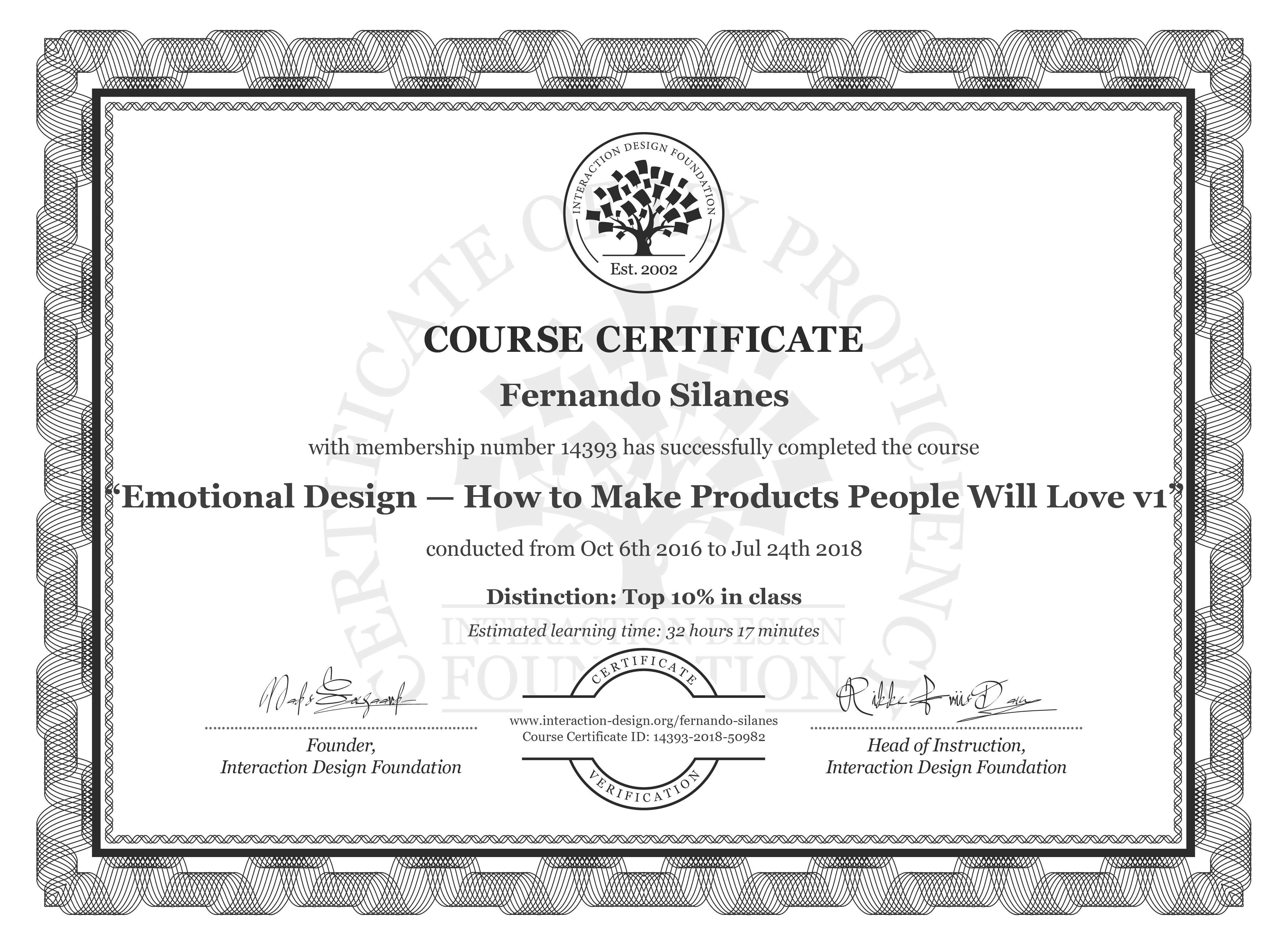 Fernando Silanes: Course Certificate - Emotional Design: How to Make Products People Will Love