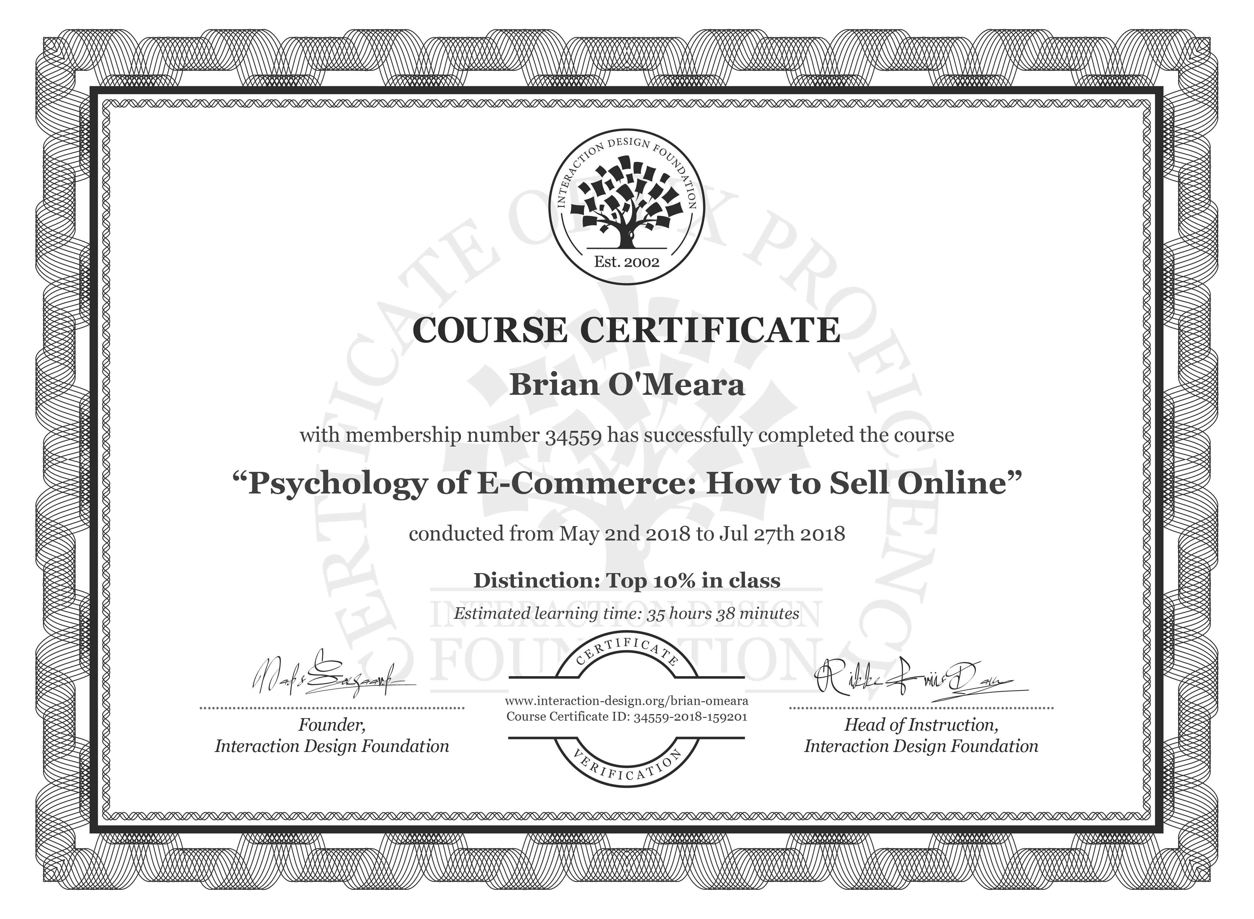 Brian O'Meara's Course Certificate: Psychology of E-Commerce: How to Sell Online