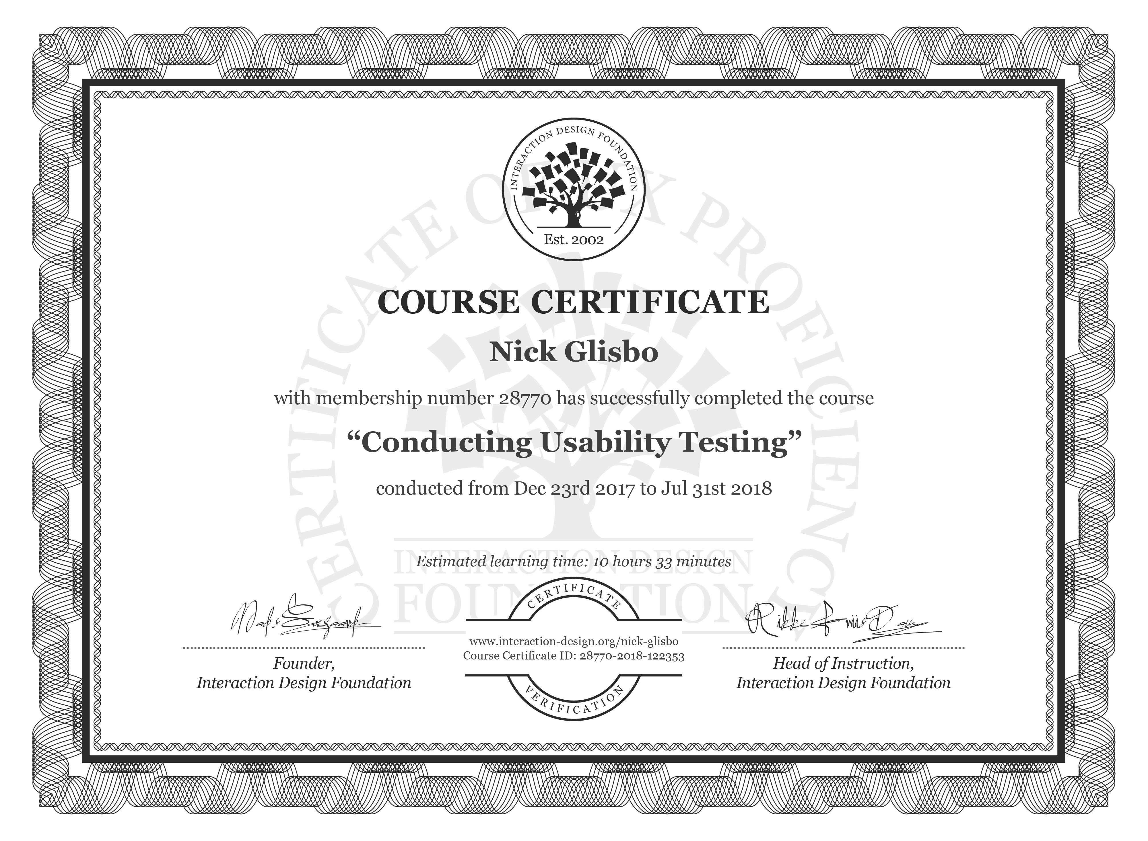Nick Glisbo: Course Certificate - Conducting Usability Testing