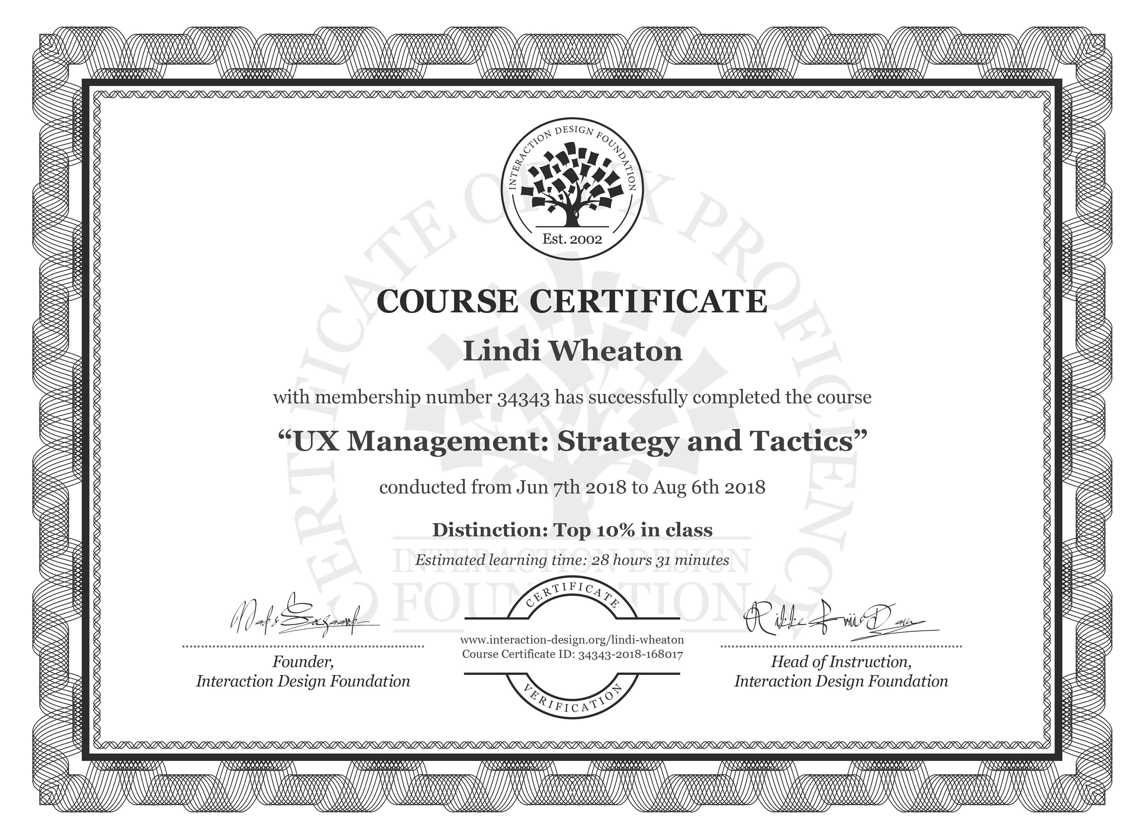 Lindi Wheaton's Course Certificate: UX Management: Strategy and Tactics