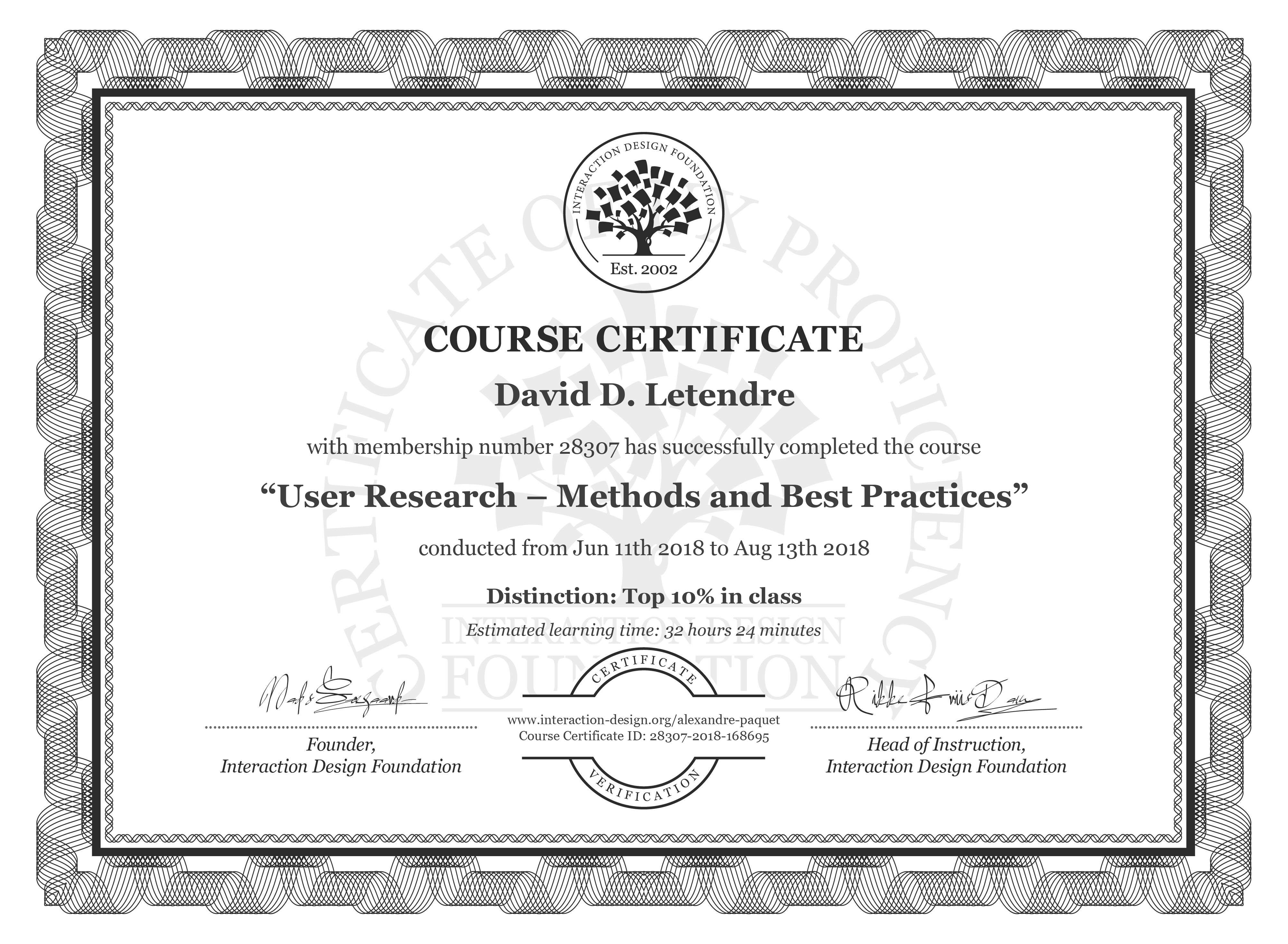 David D. Letendre: Course Certificate - User Research – Methods and Best Practices