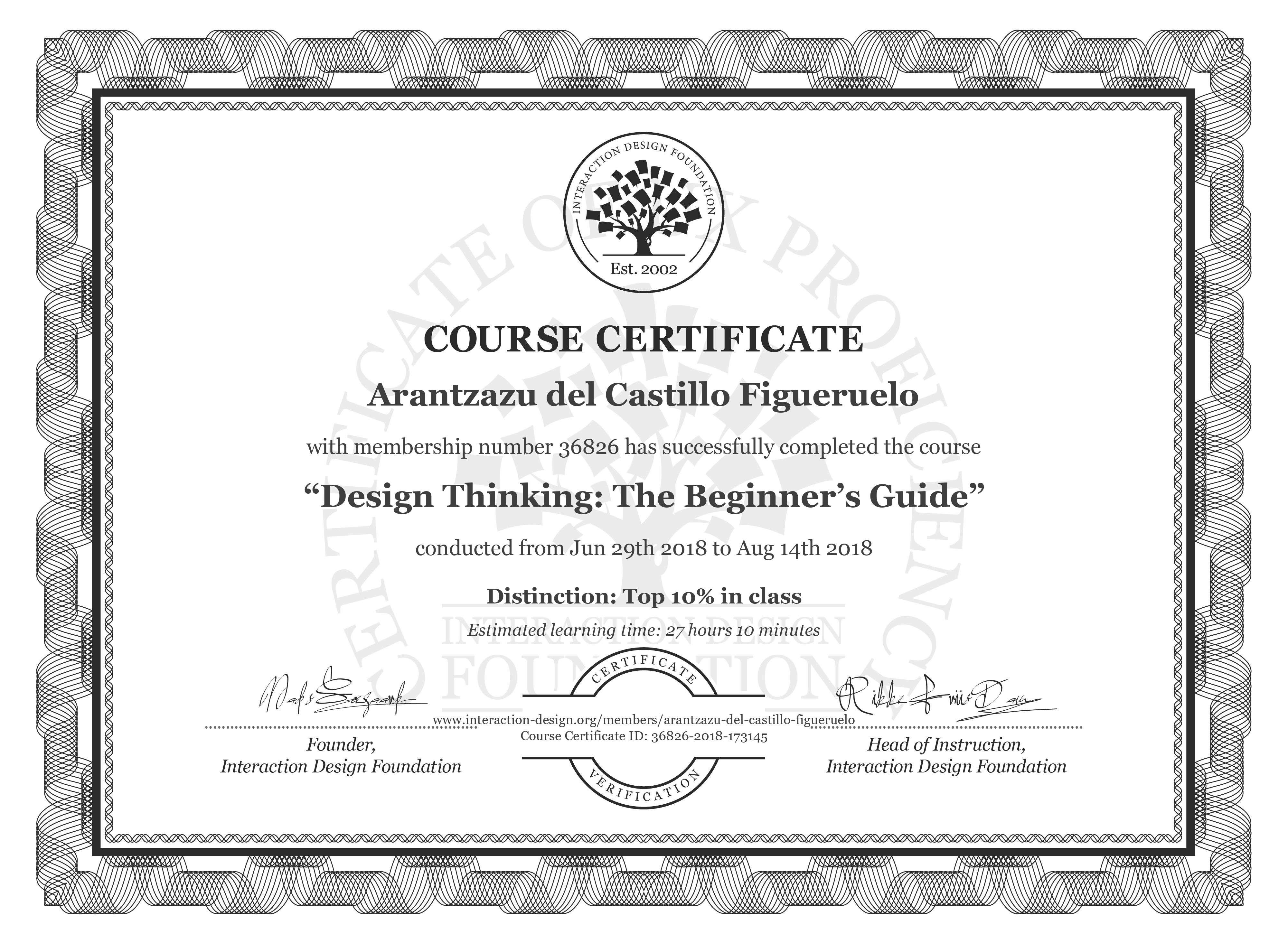 Arantzazu del Castillo Figueruelo's Course Certificate: Design Thinking: The Beginner's Guide