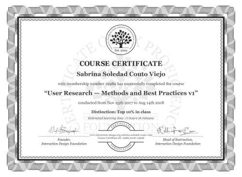 Sabrina Soledad Couto Viejo's Course Certificate: User Research — Methods and Best Practices
