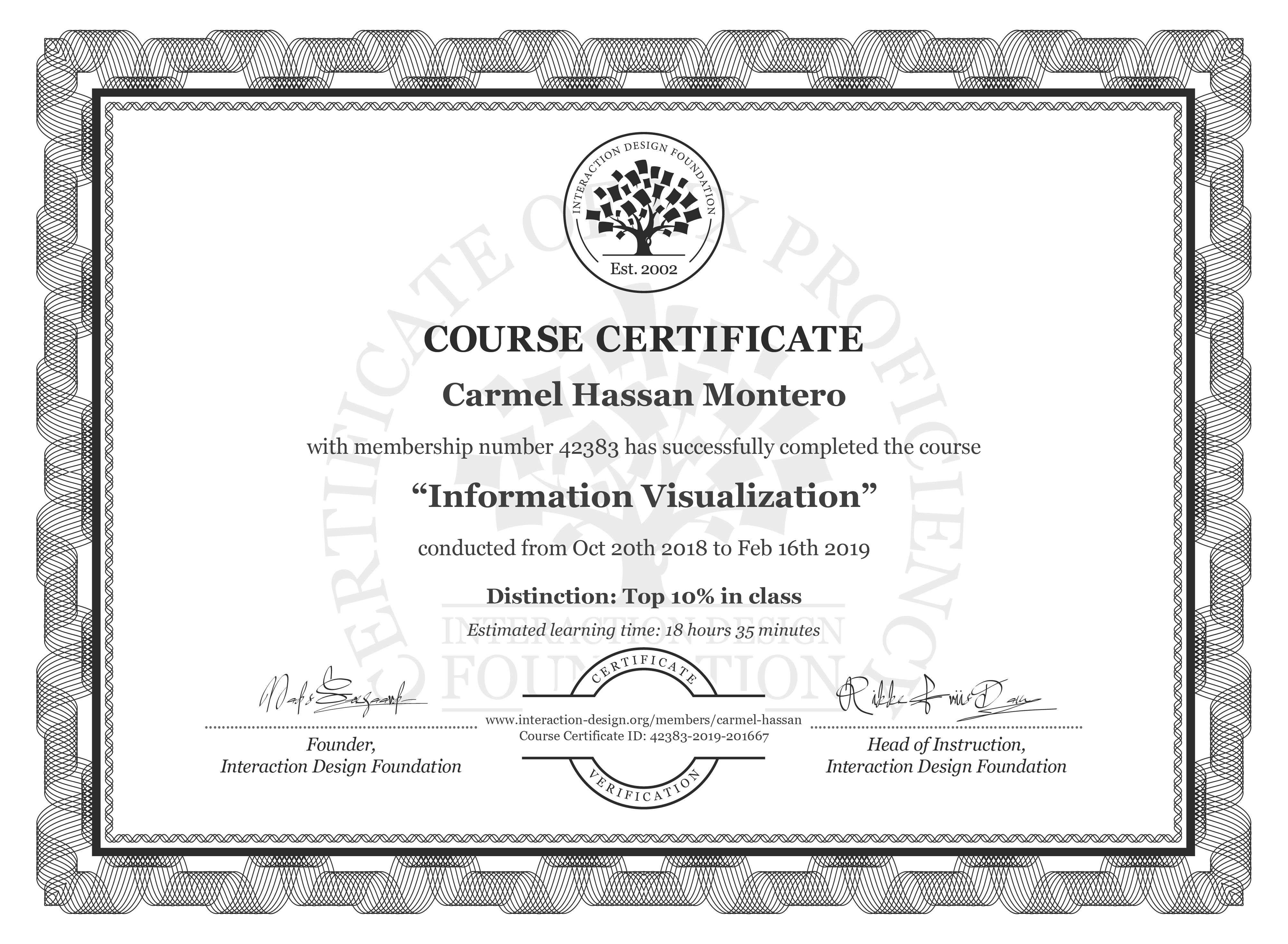 Carmel Hassan Montero: Course Certificate - Information Visualization