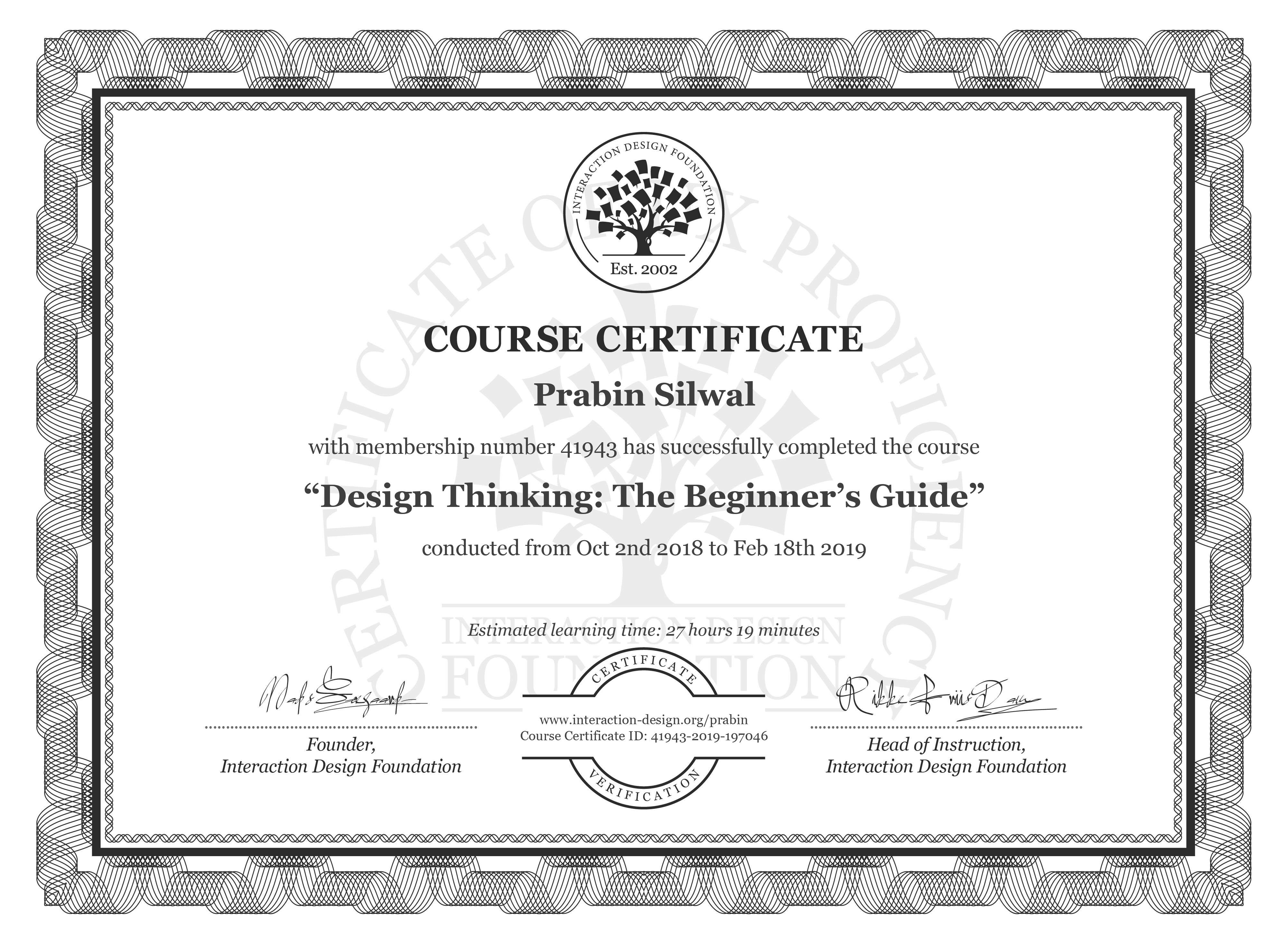 Prabin Silwal: Course Certificate - Design Thinking: The Beginner's Guide