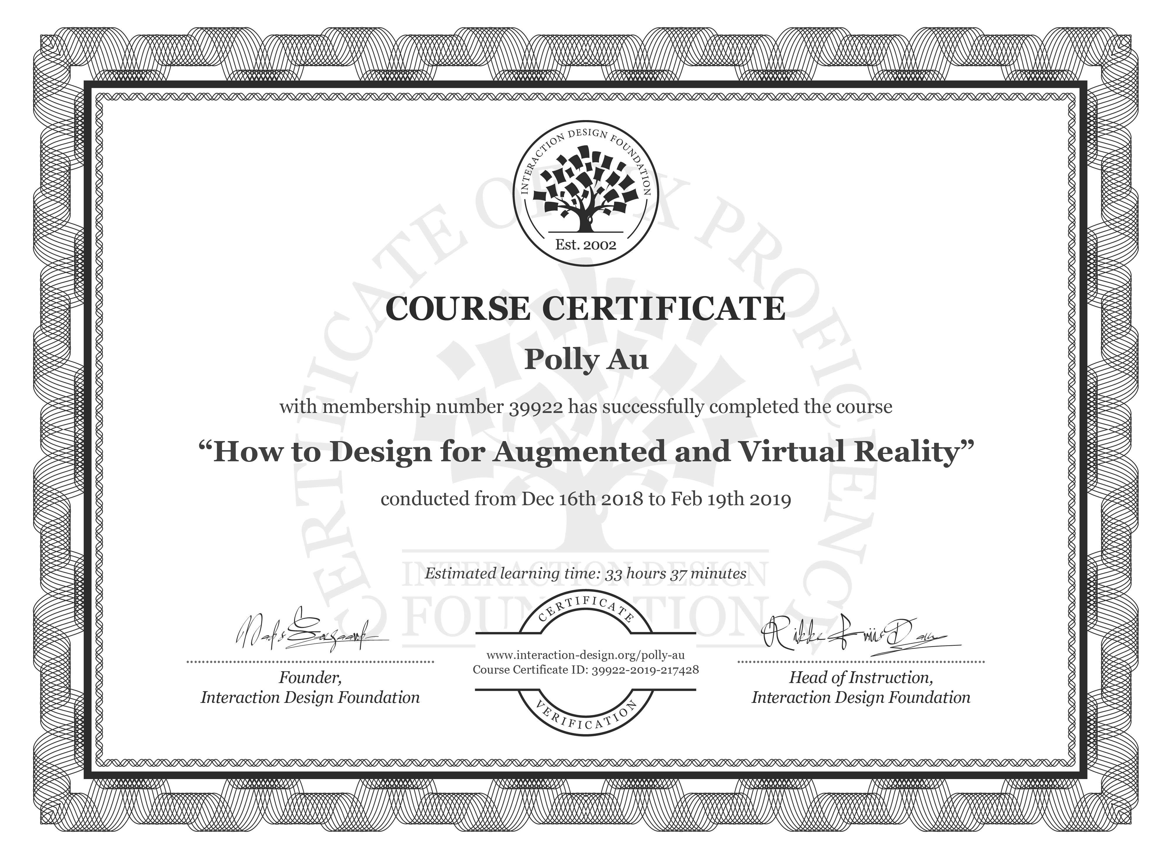 Polly Au: Course Certificate - How to Design for Augmented and Virtual Reality