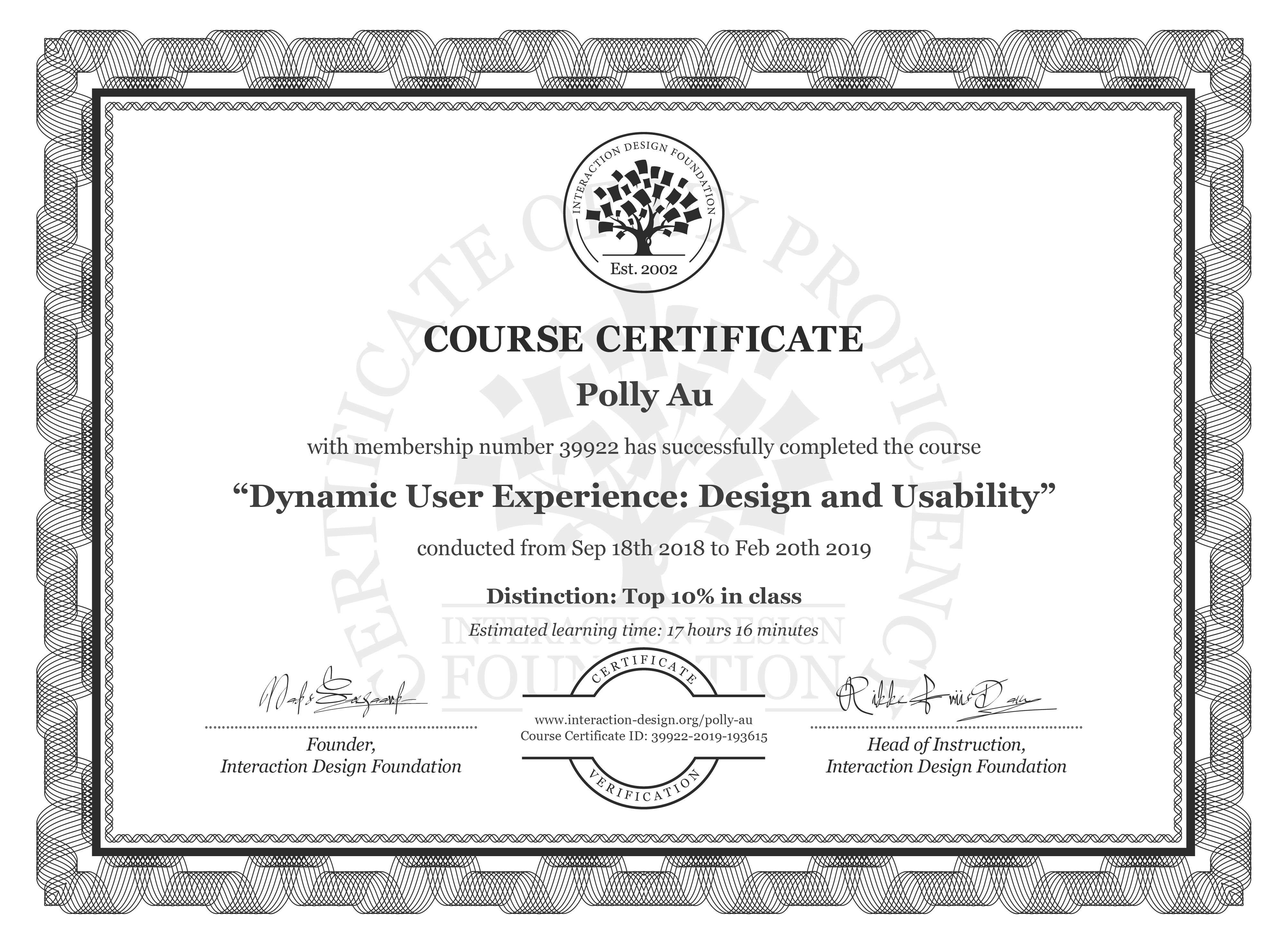 Polly Au's Course Certificate: Dynamic User Experience: Design and Usability