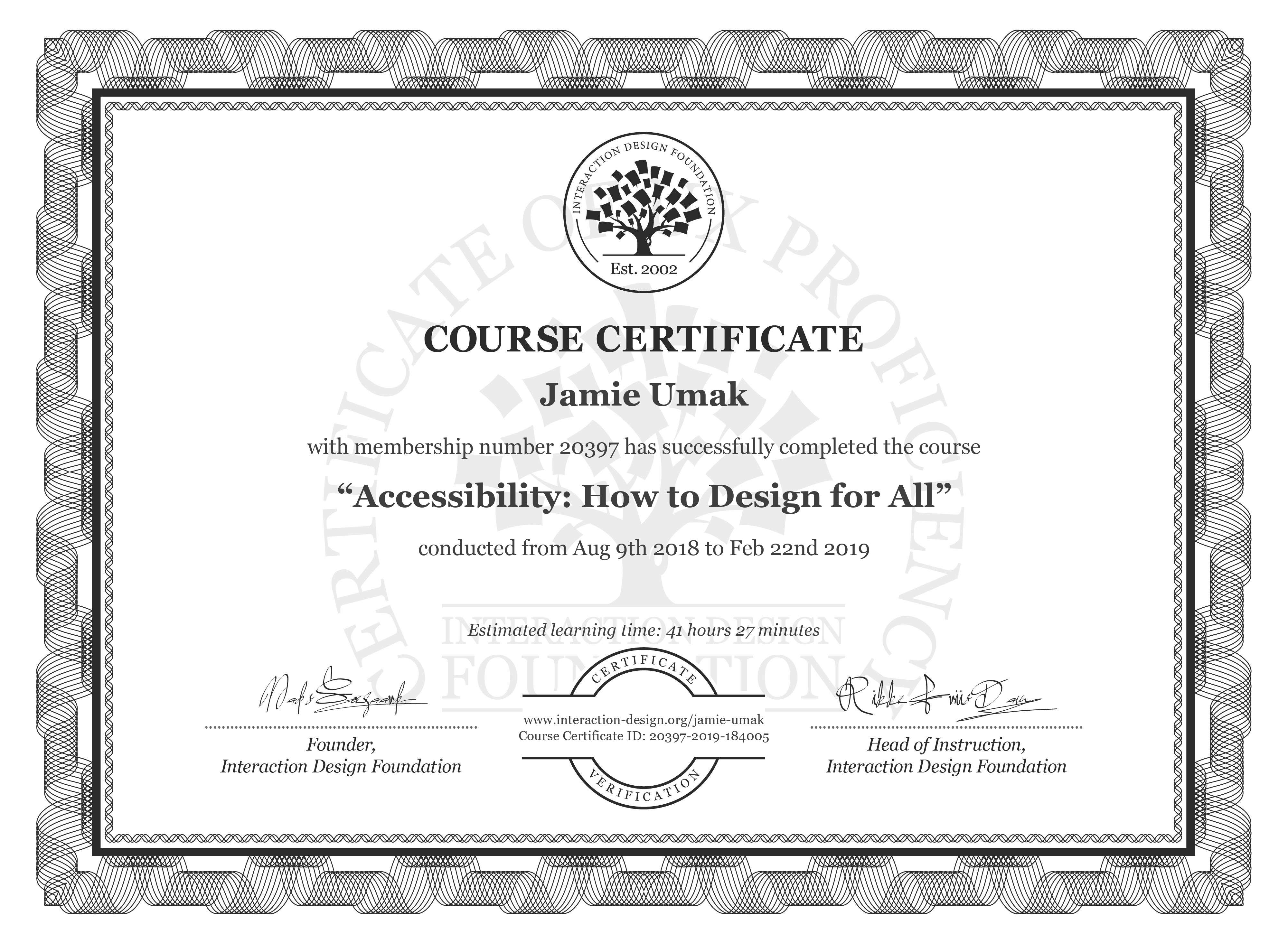 Jamie Umak: Course Certificate - Accessibility: How to Design for All