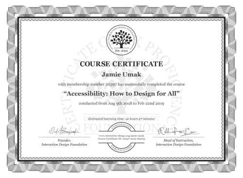 Jamie Umak's Course Certificate: Accessibility: How to Design for All