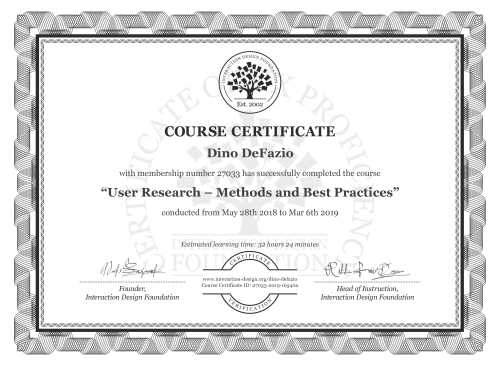 Dino DeFazio's Course Certificate: User Research – Methods and Best Practices