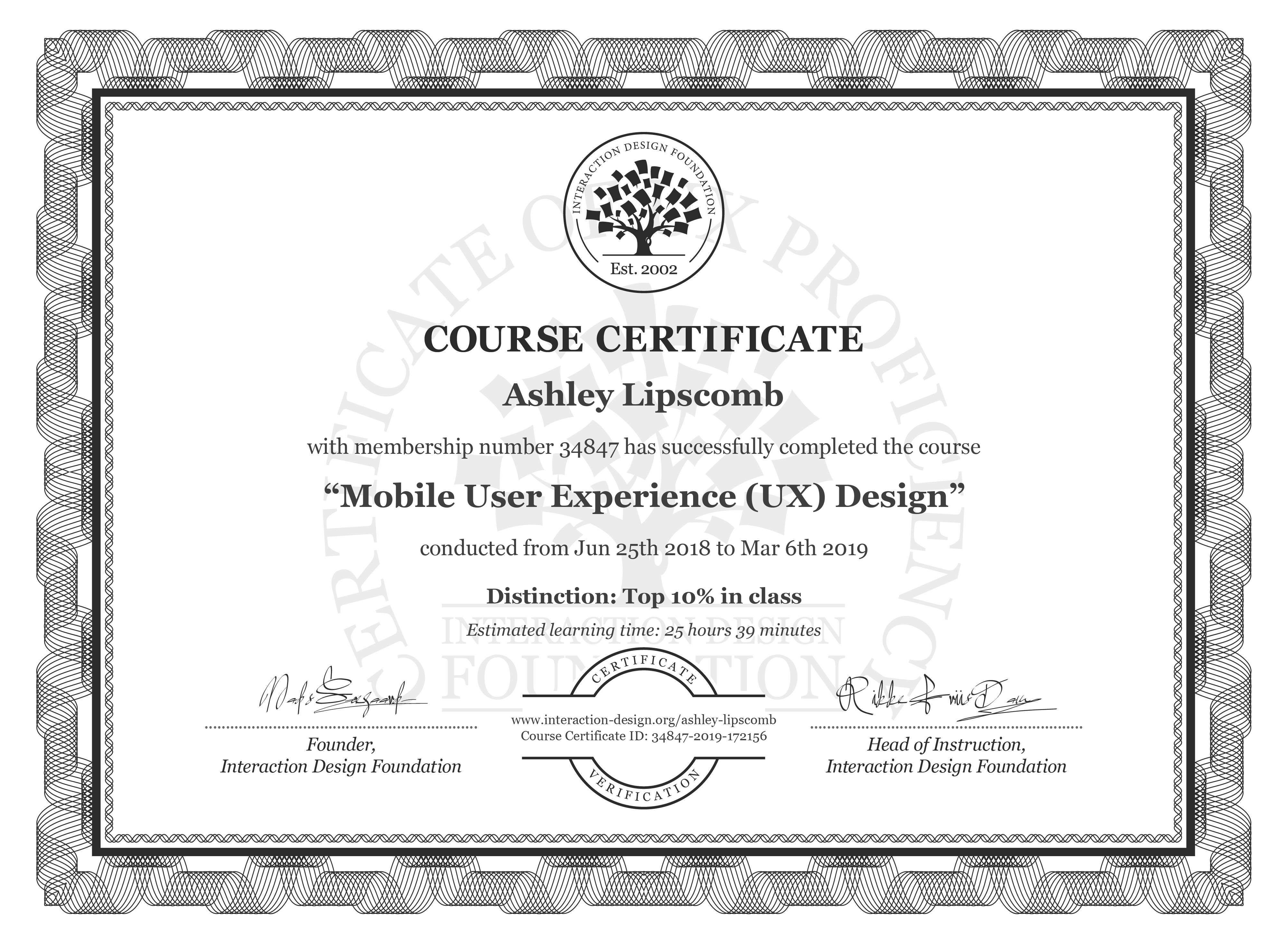 Ashley Lipscomb: Course Certificate - Mobile User Experience (UX) Design