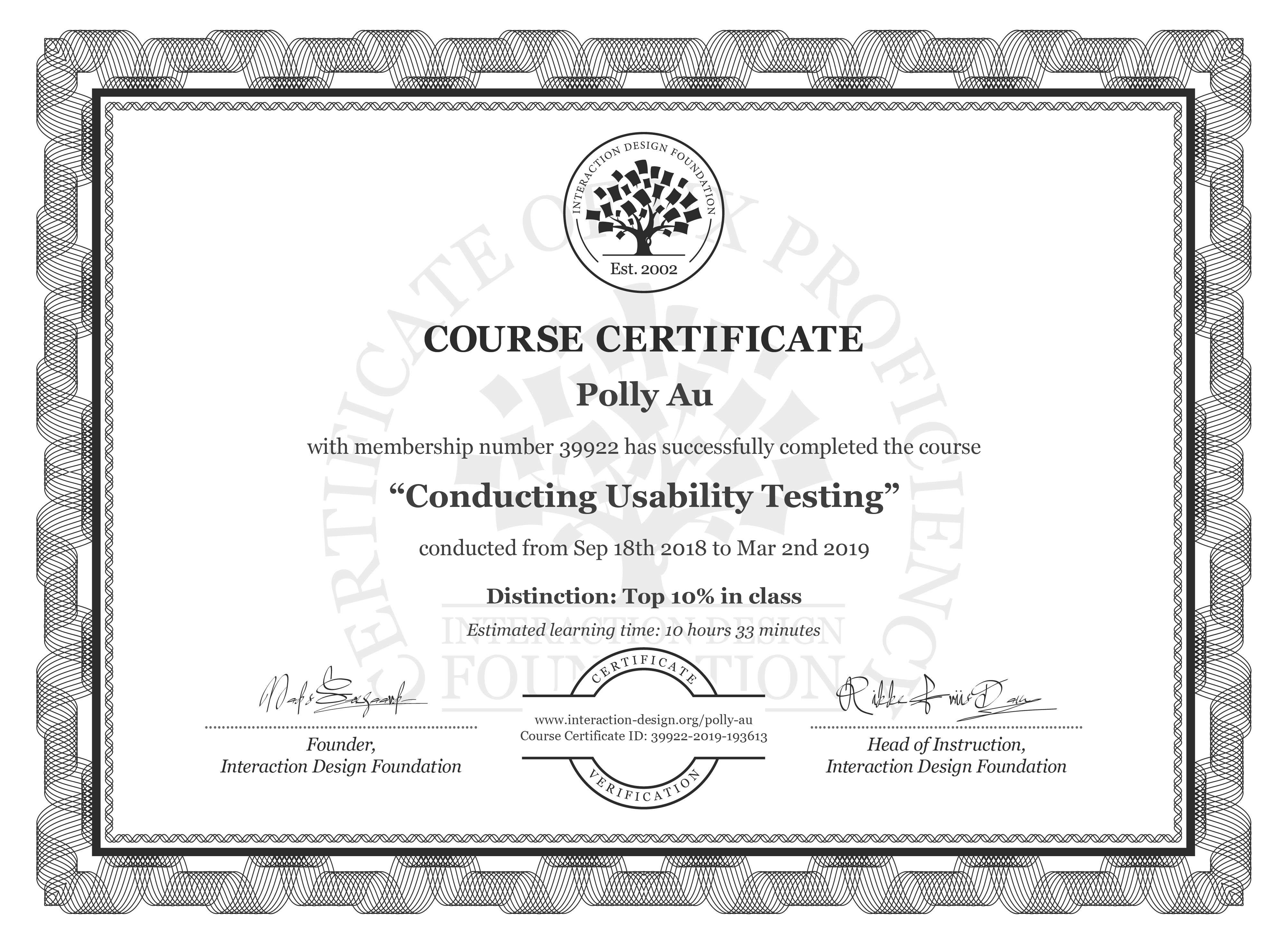 Polly Au's Course Certificate: Conducting Usability Testing