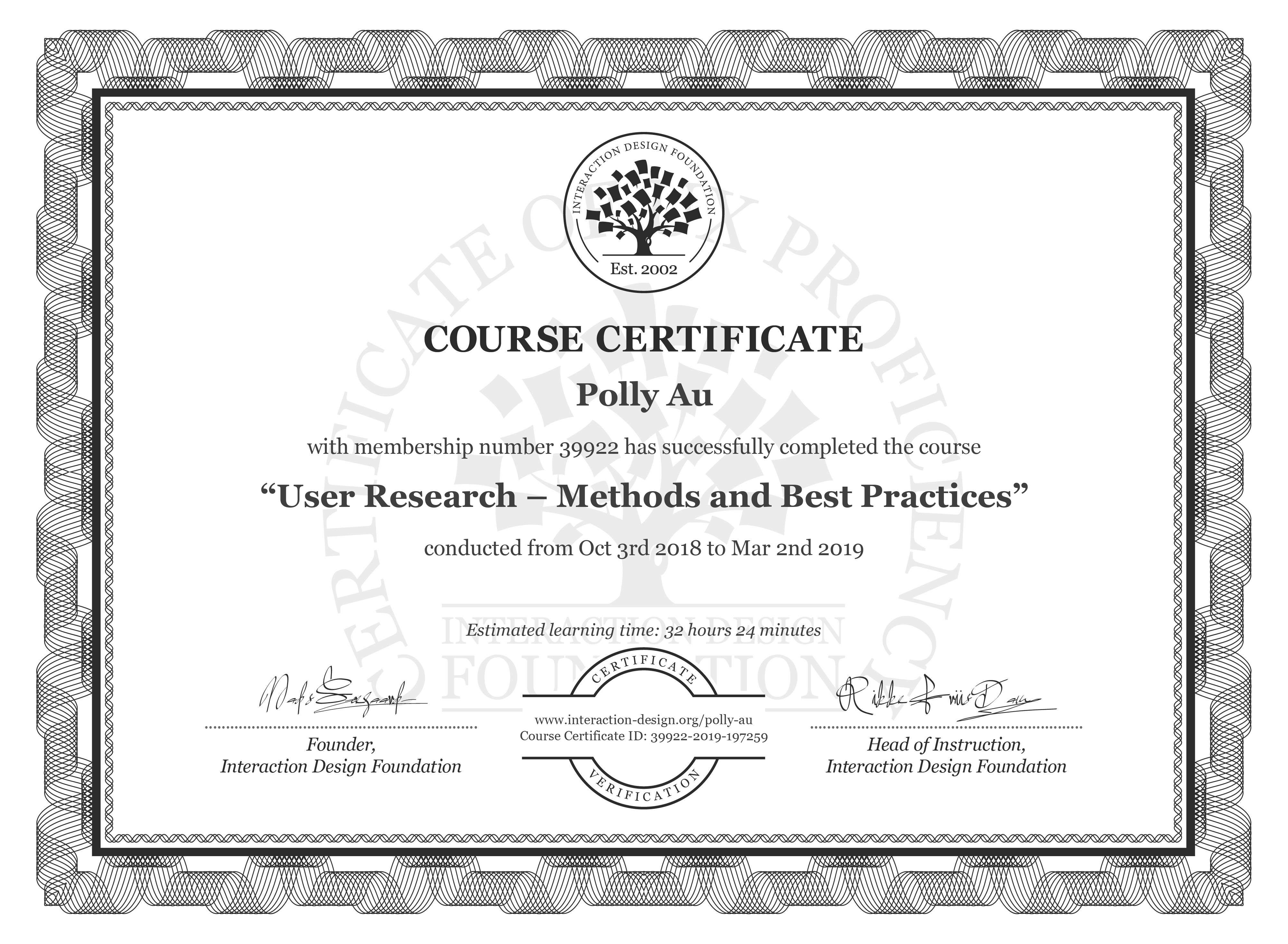 Polly Au: Course Certificate - User Research – Methods and Best Practices