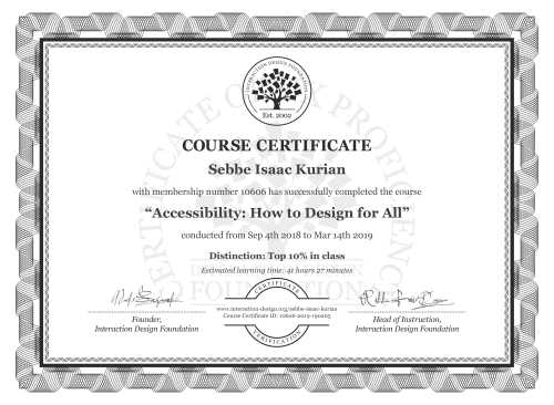 Sebbe Isaac Kurian's Course Certificate: Accessibility: How to Design for All