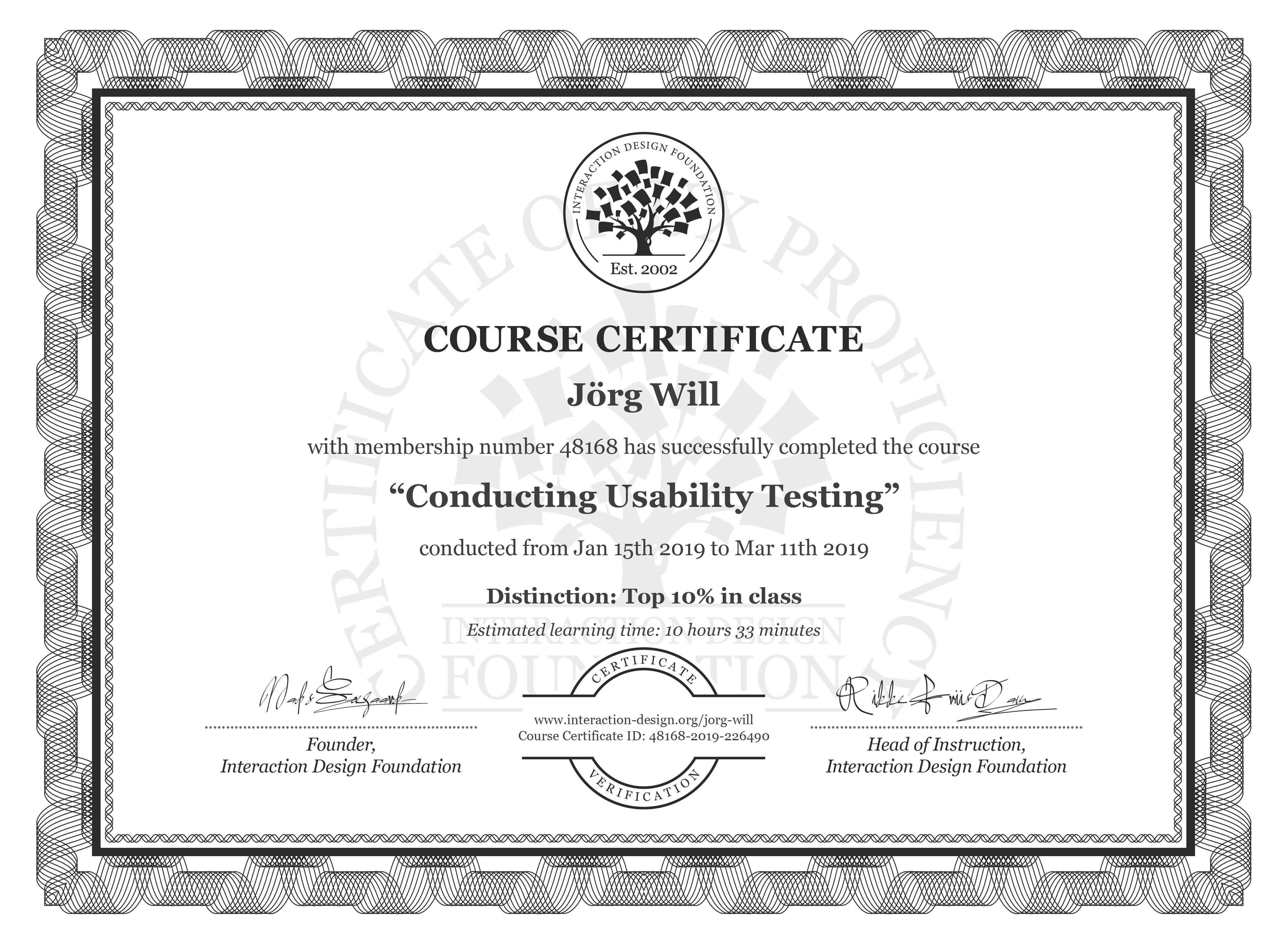 Jörg Will: Course Certificate - Conducting Usability Testing