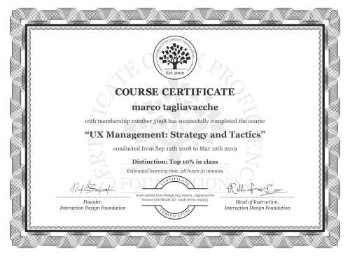 marco tagliavacche's Course Certificate: UX Management: Strategy and Tactics