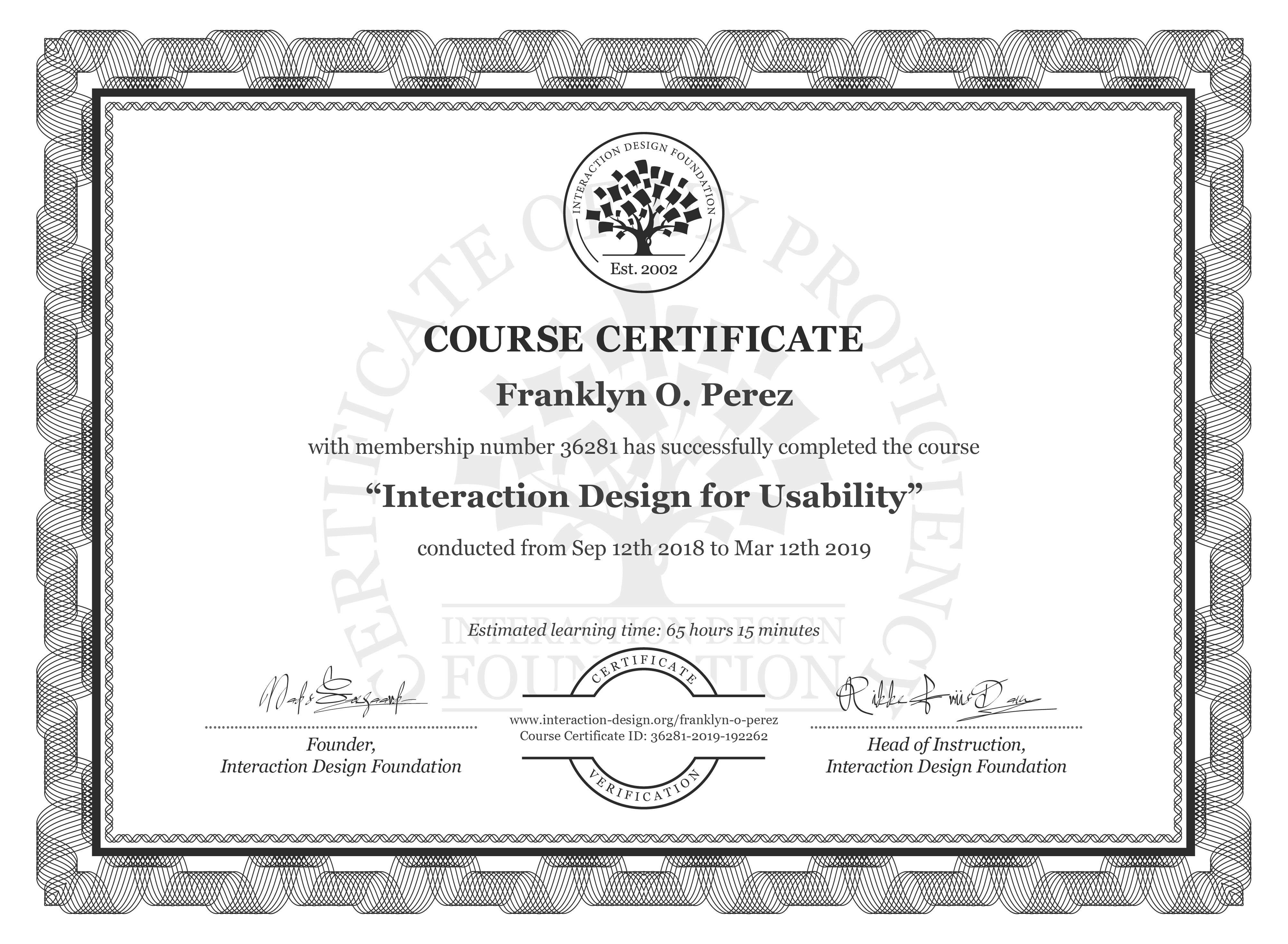 Franklyn O. Perez: Course Certificate - Interaction Design for Usability