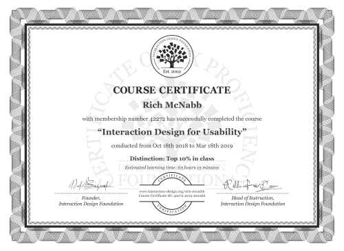 Rich McNabb's Course Certificate: Interaction Design for Usability
