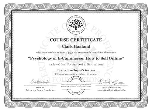 Clark Haaland's Course Certificate: Psychology of E-Commerce: How to Sell Online