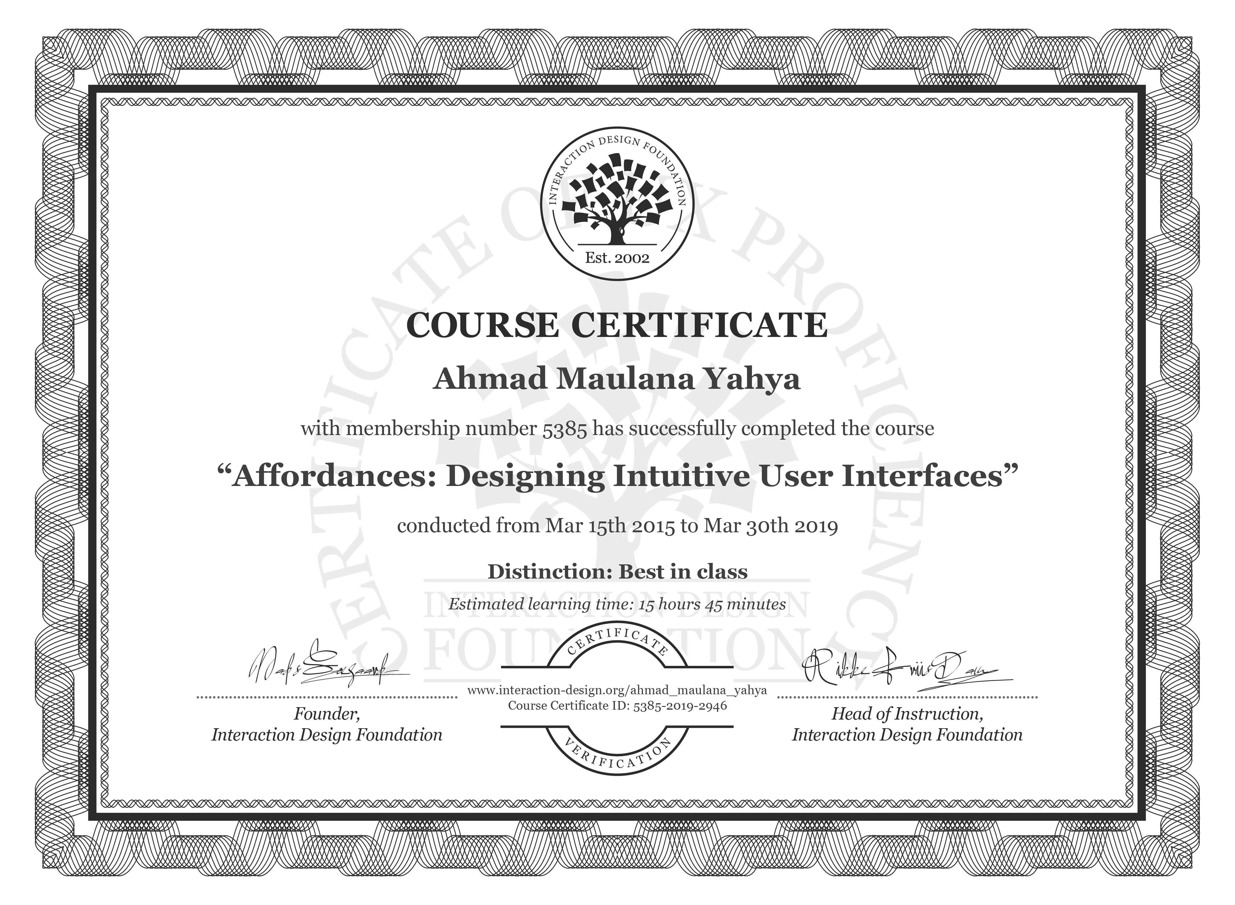 Ahmad Maulana Yahya's Course Certificate: Affordances: Designing Intuitive User Interfaces