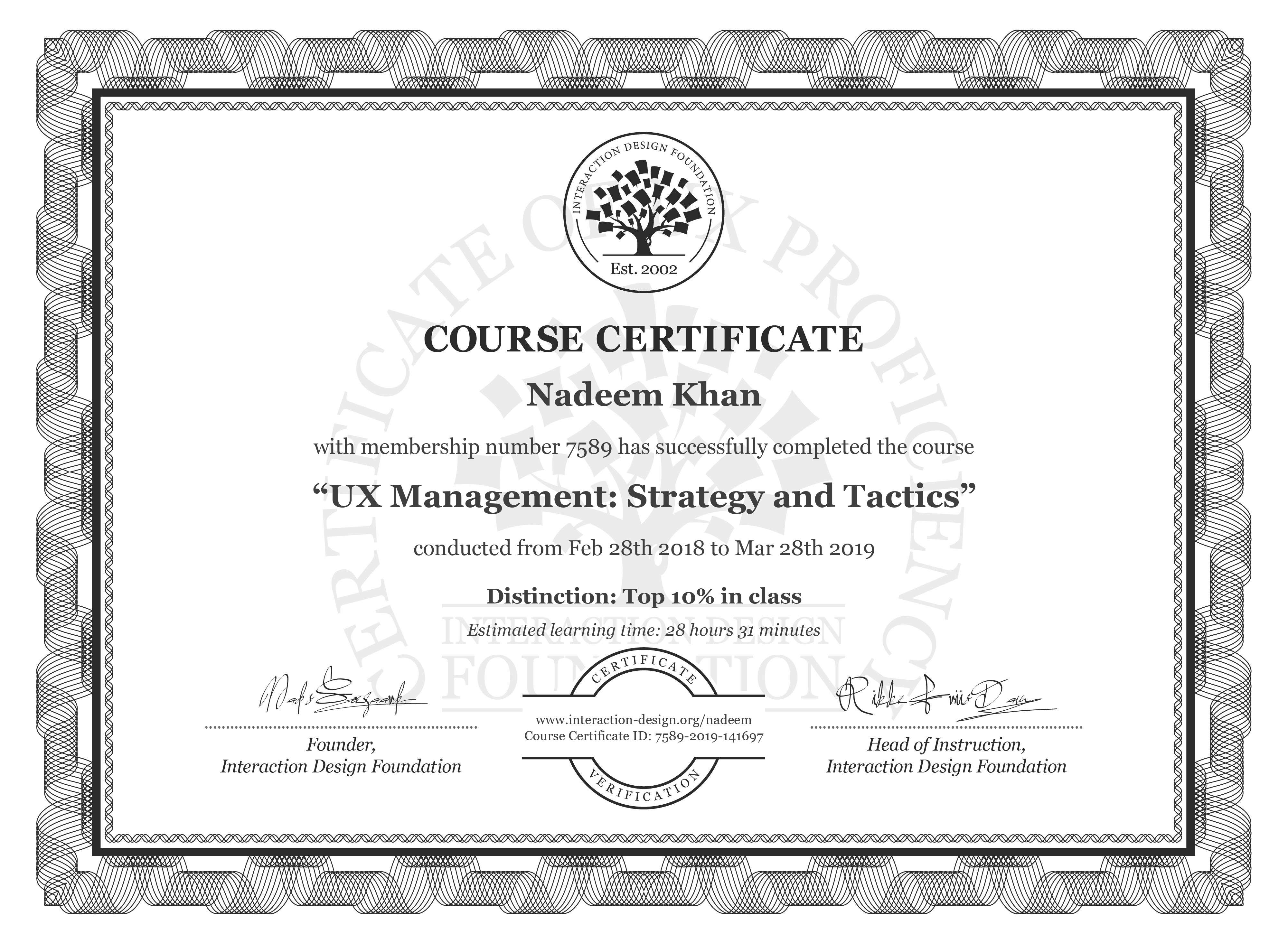 Nadeem Khan's Course Certificate: UX Management: Strategy and Tactics