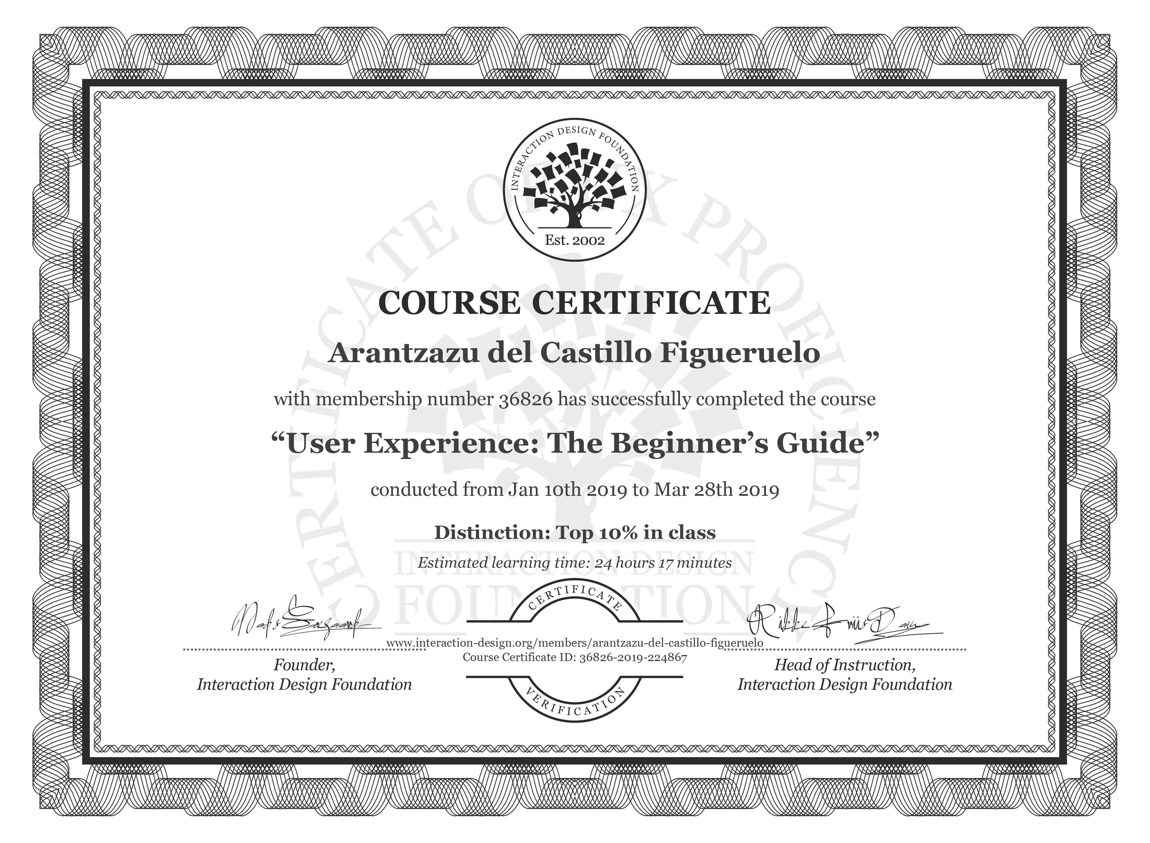 Arantzazu del Castillo Figueruelo's Course Certificate: Become a UX Designer from Scratch