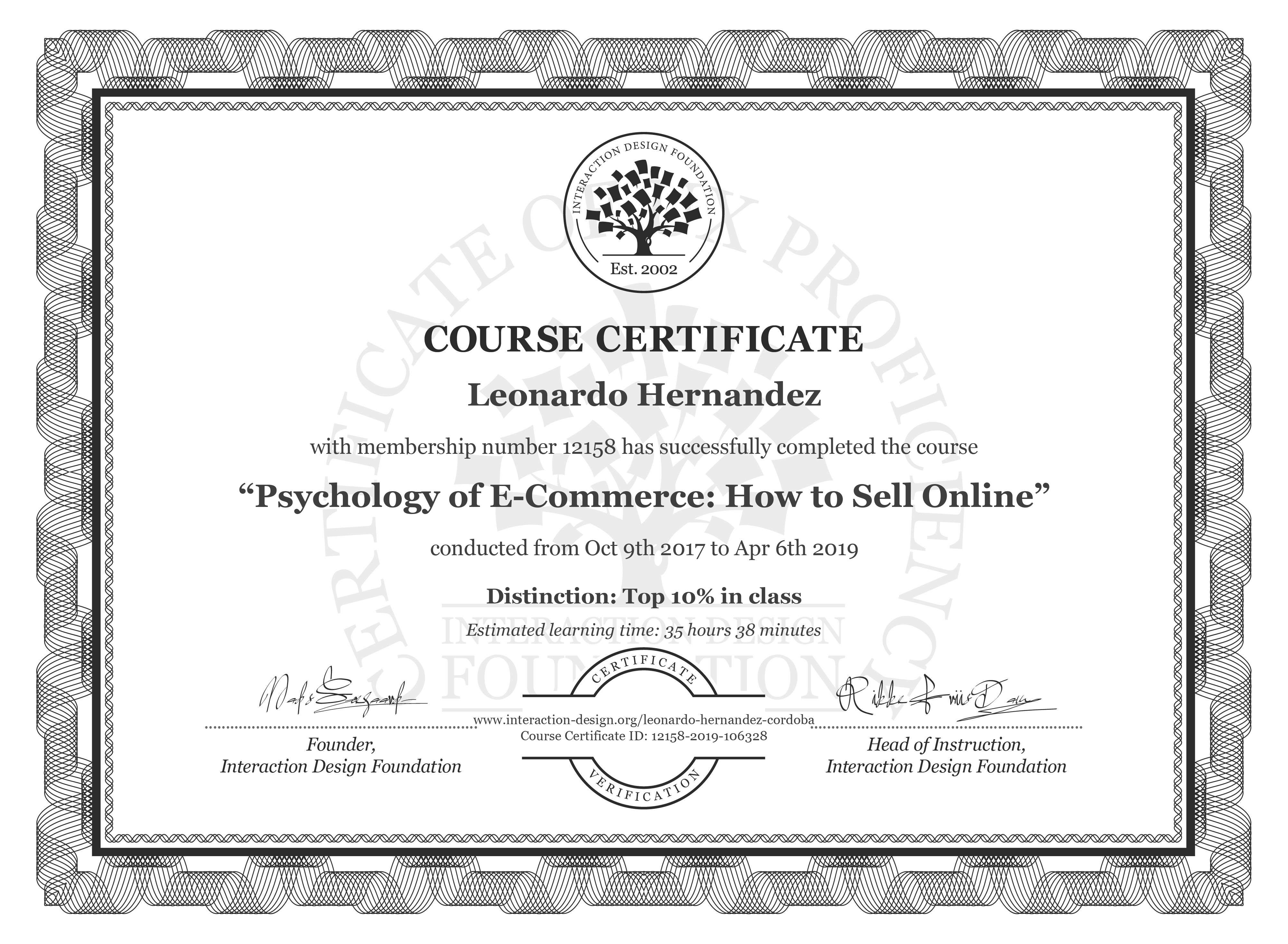 Leonardo: Course Certificate - Psychology of E-Commerce: How to Sell Online