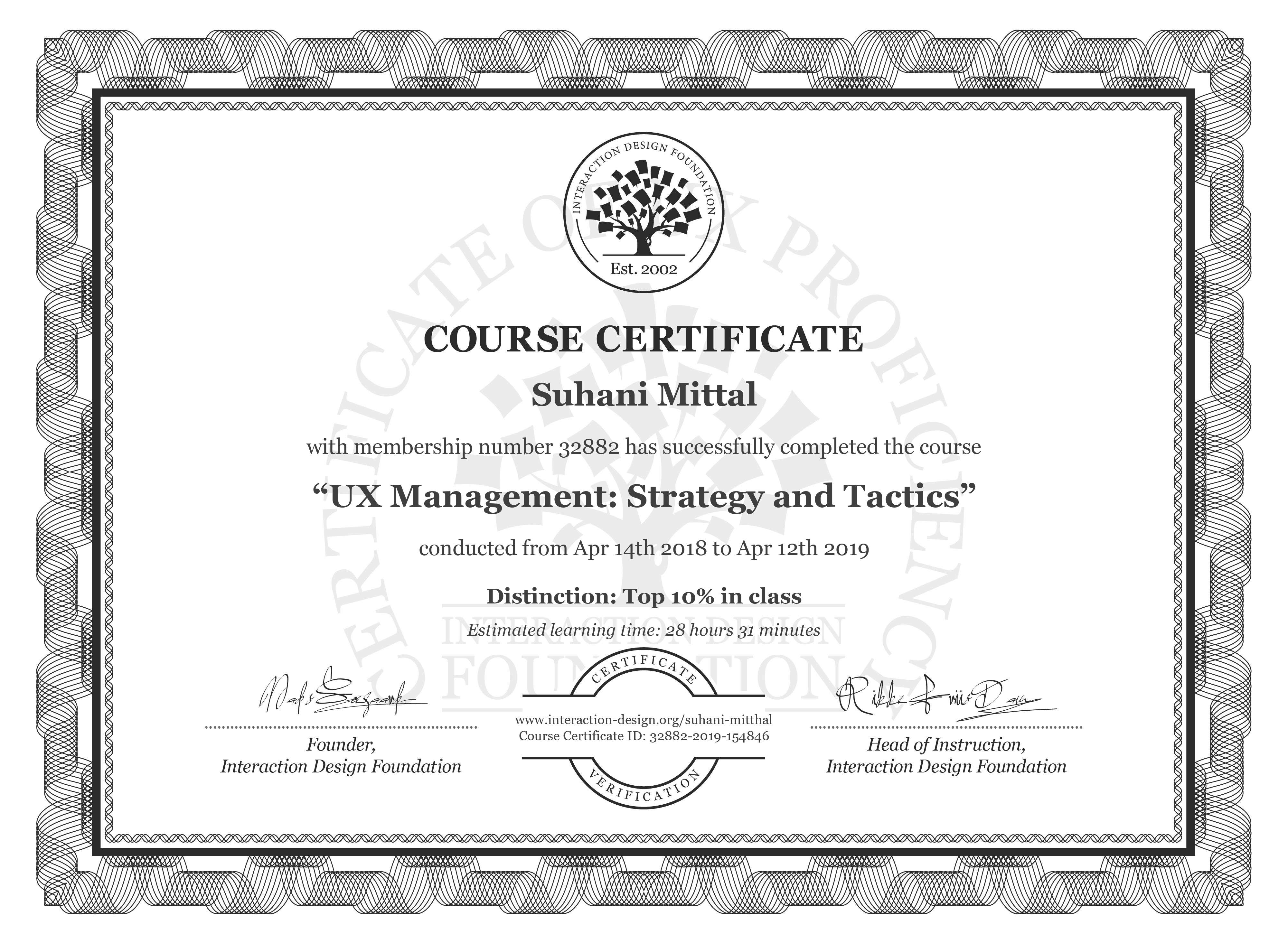 Suhani Mittal: Course Certificate - UX Management: Strategy and Tactics