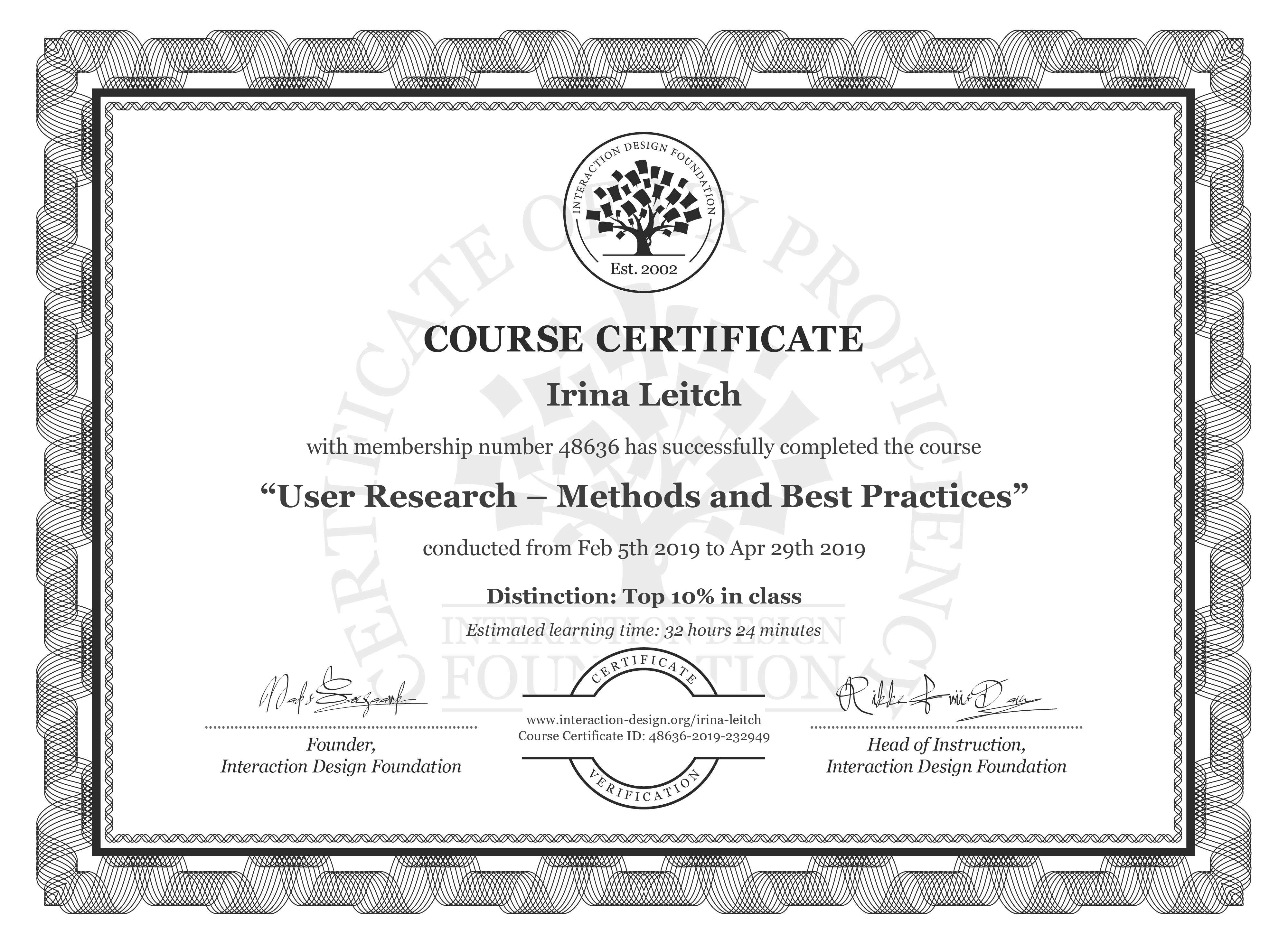 Irina Leitch's Course Certificate: User Research – Methods and Best Practices