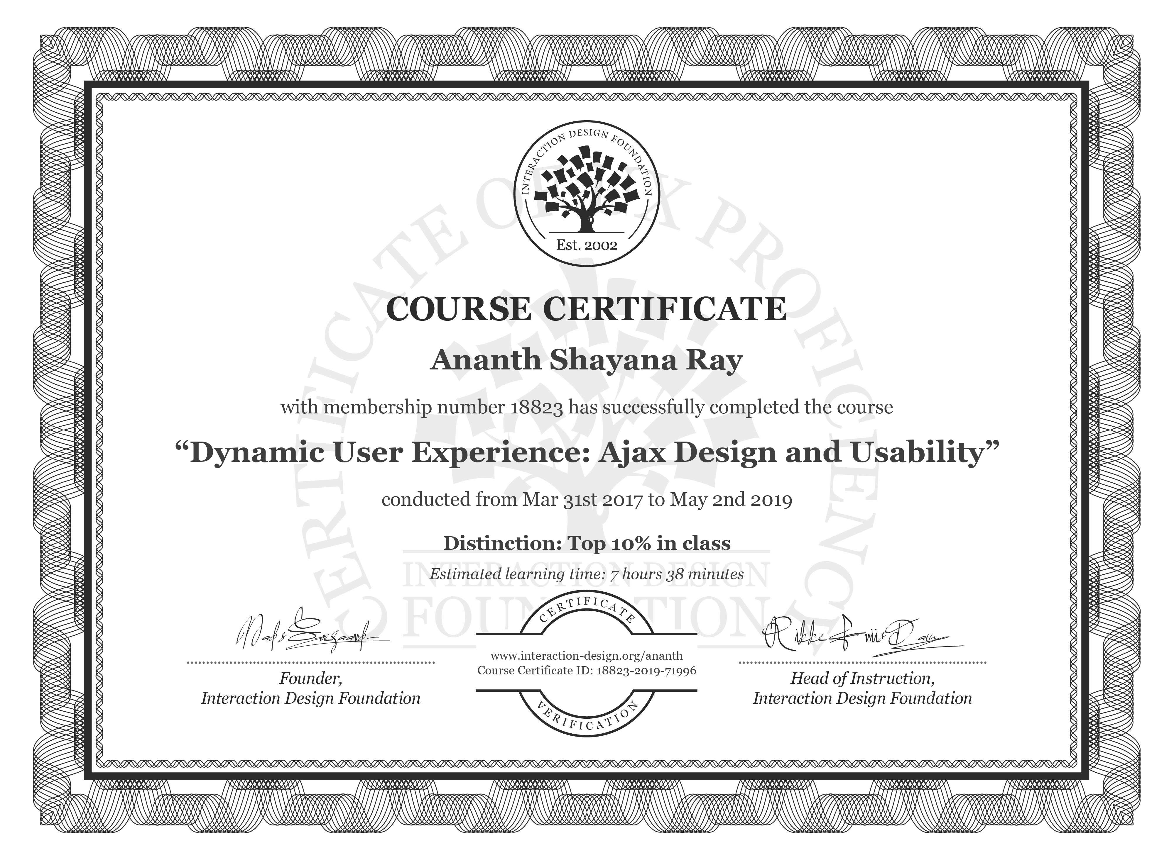 Ananth Shayana Ray: Course Certificate - Dynamic User Experience: Ajax Design and Usability