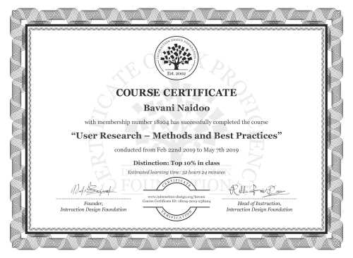 Bavani Naidoo's Course Certificate: User Research – Methods and Best Practices