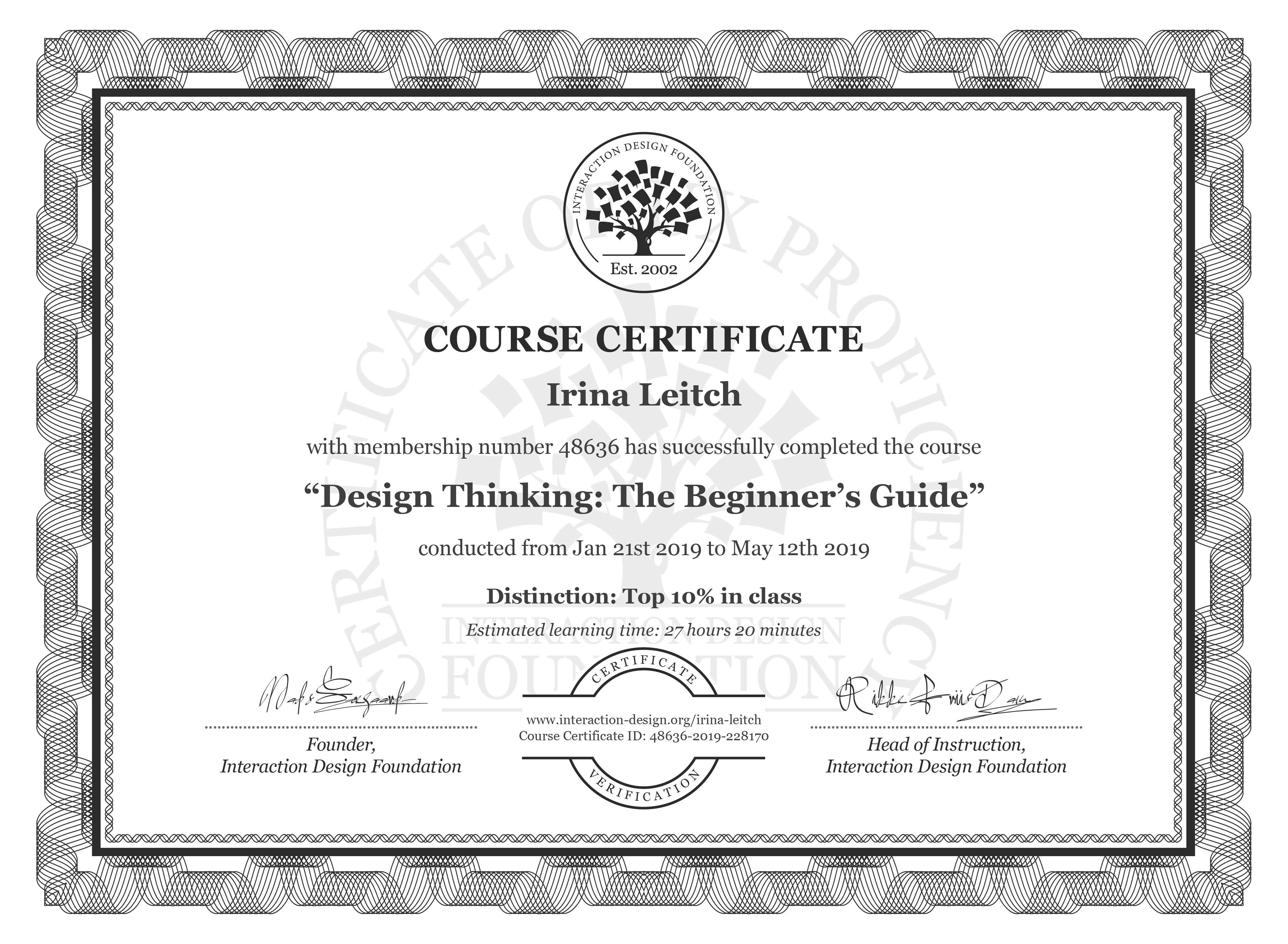 Irina Leitch's Course Certificate: Design Thinking: The Beginner's Guide