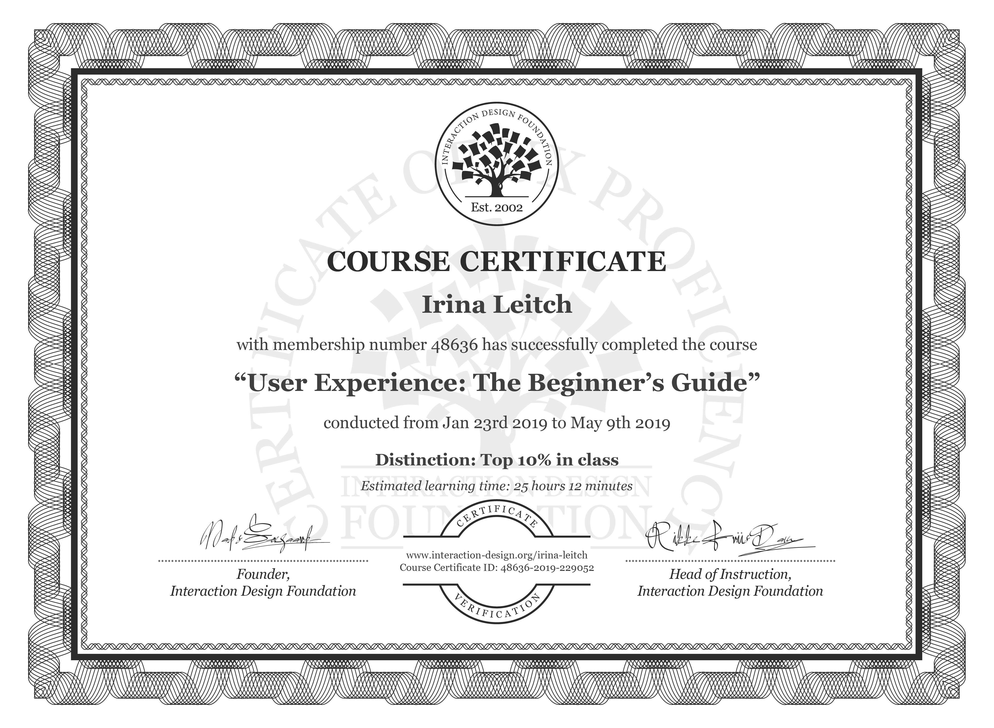Irina Leitch's Course Certificate: Become a UX Designer from Scratch