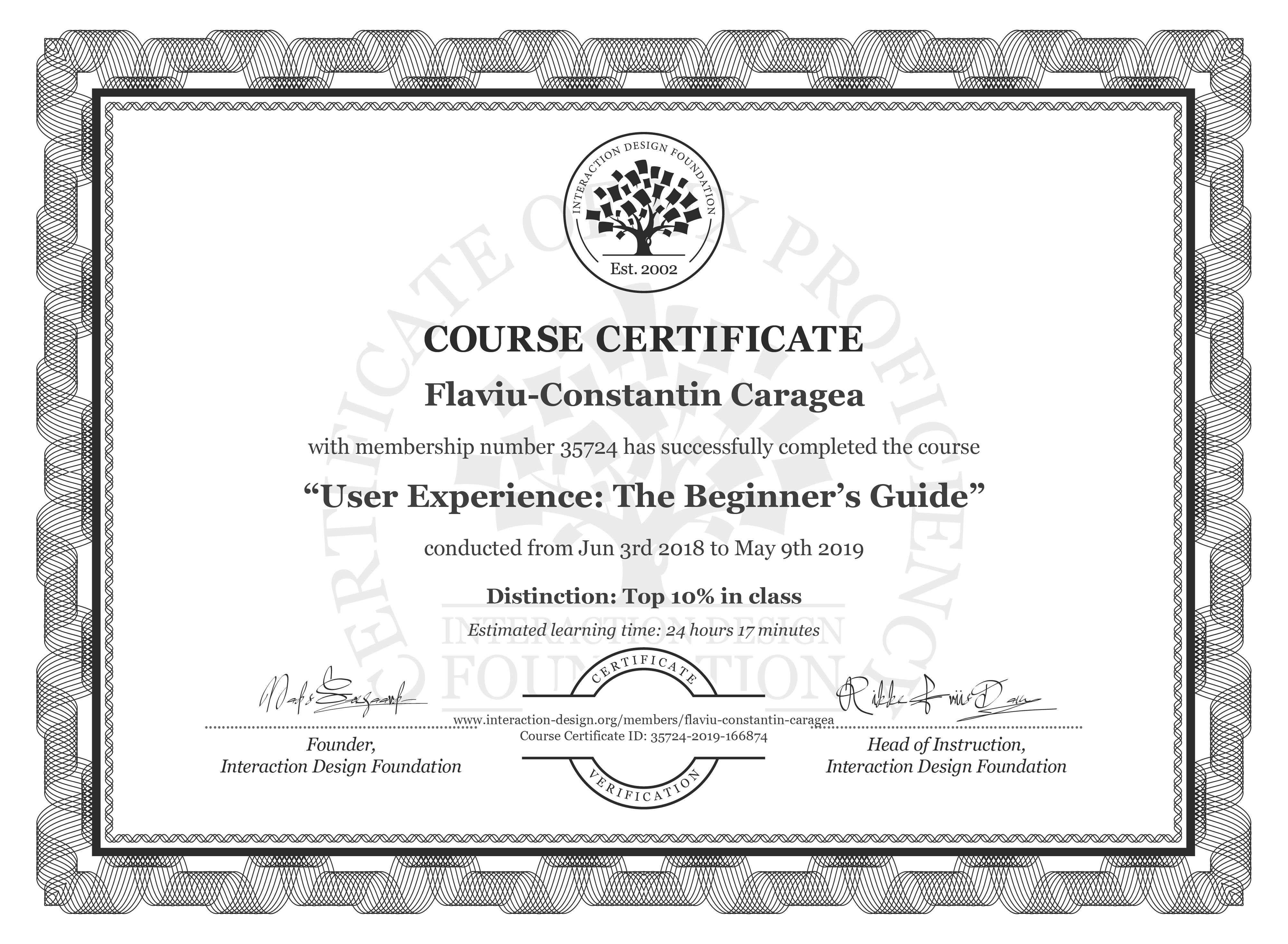 Flaviu-Constantin Caragea: Course Certificate - Become a UX Designer from Scratch