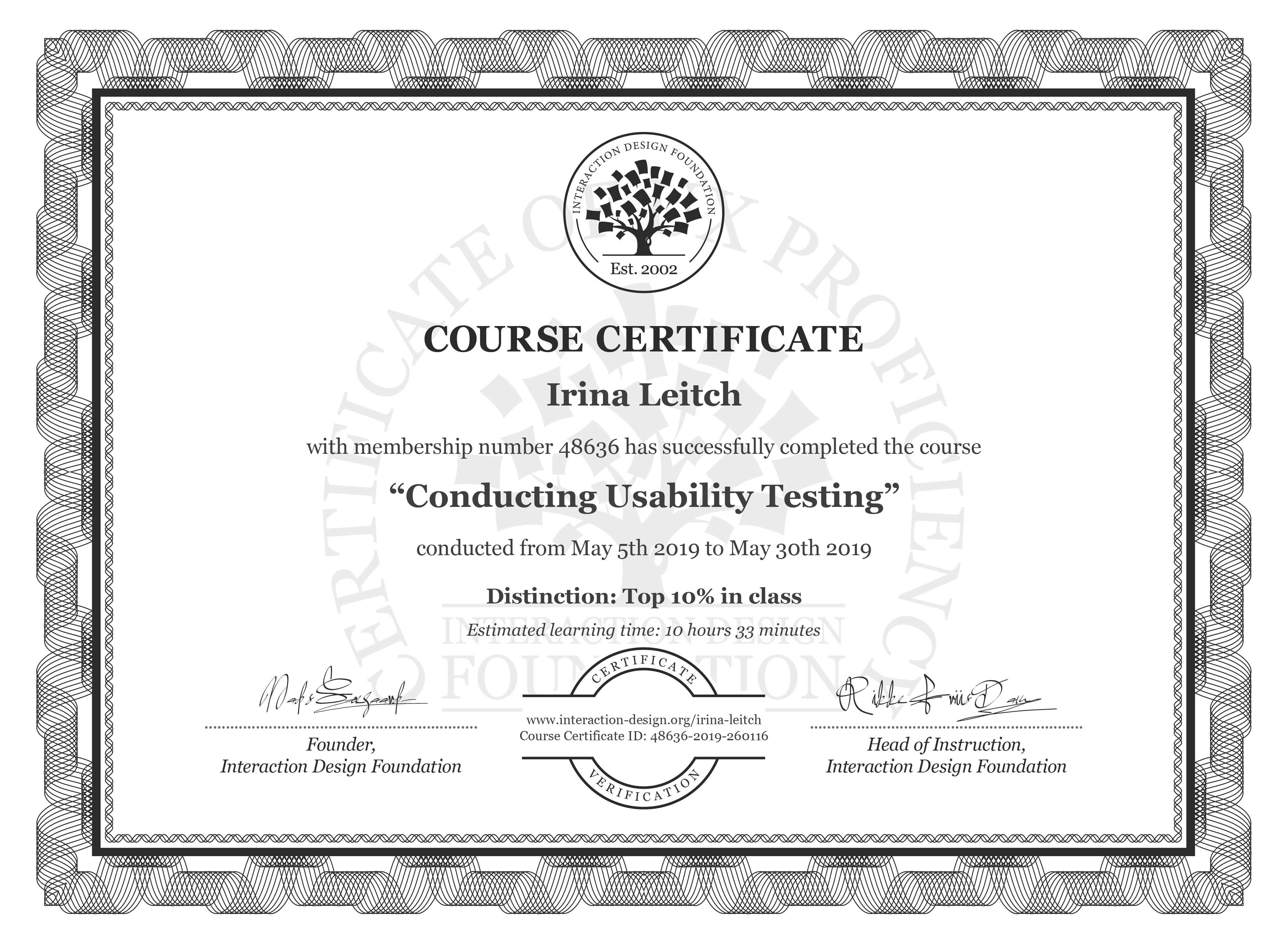 Irina Leitch's Course Certificate: Conducting Usability Testing