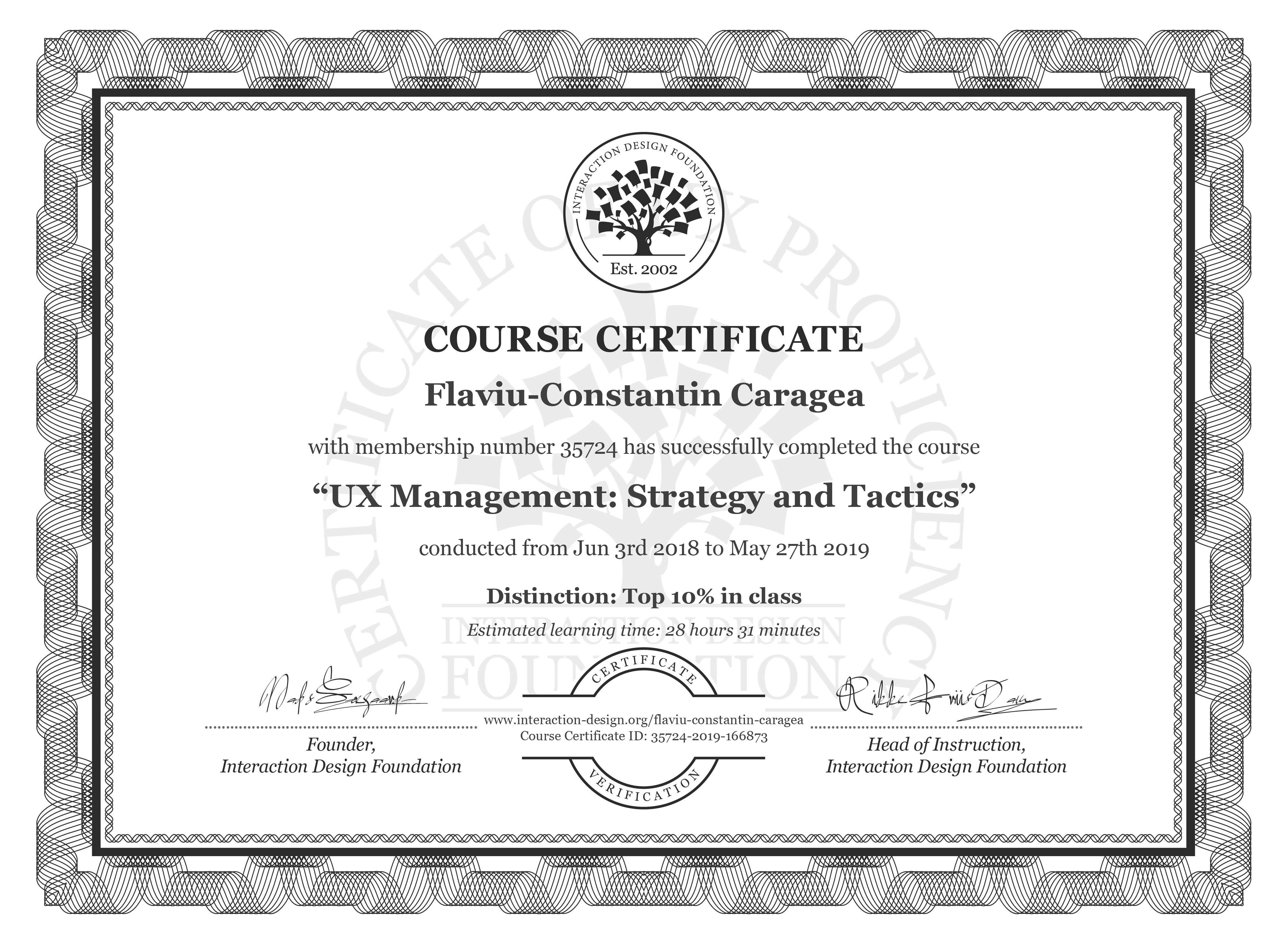 Flaviu-Constantin Caragea: Course Certificate - UX Management: Strategy and Tactics