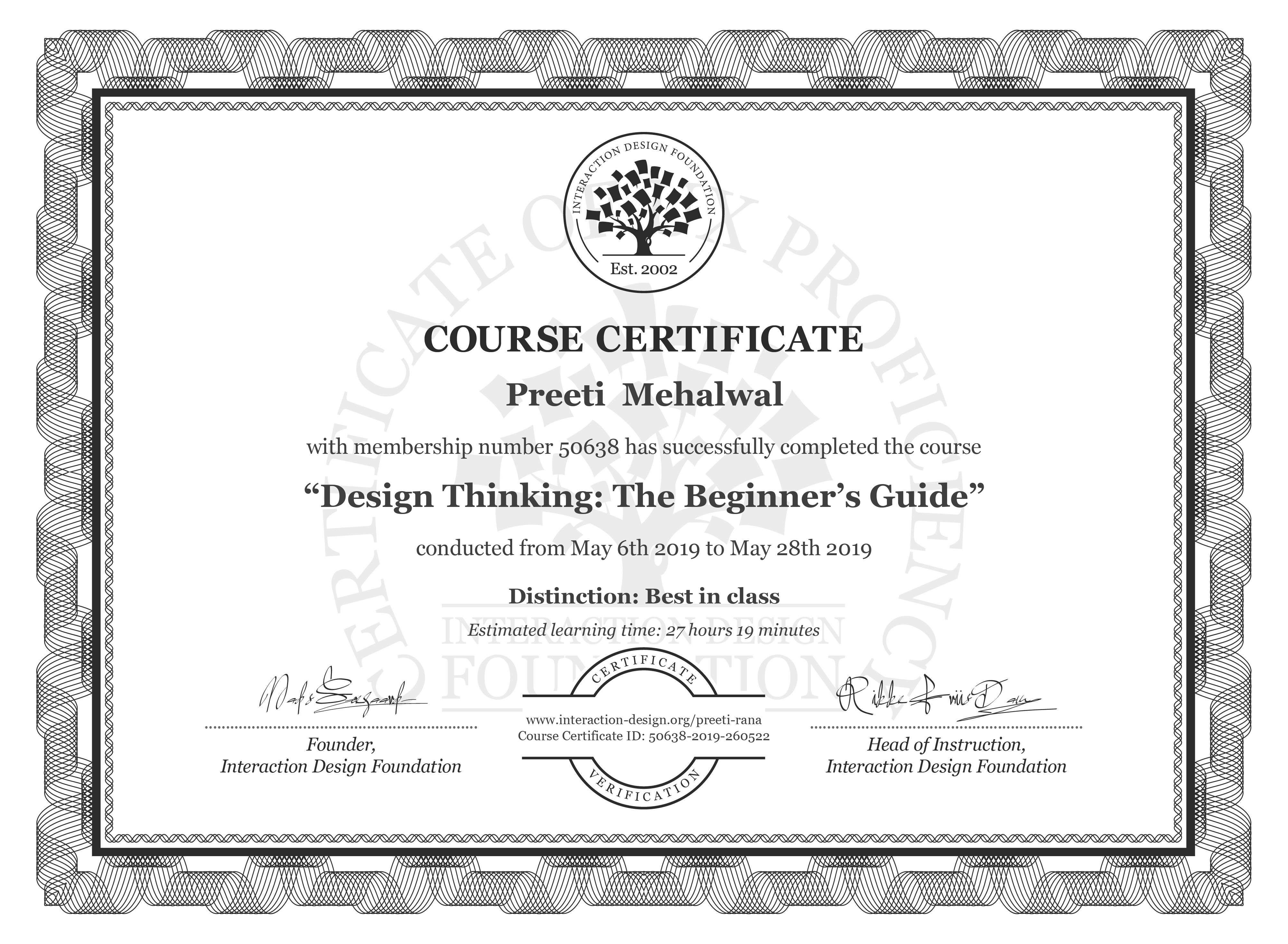 Preeti  Mehalwal's Course Certificate: Design Thinking: The Beginner's Guide