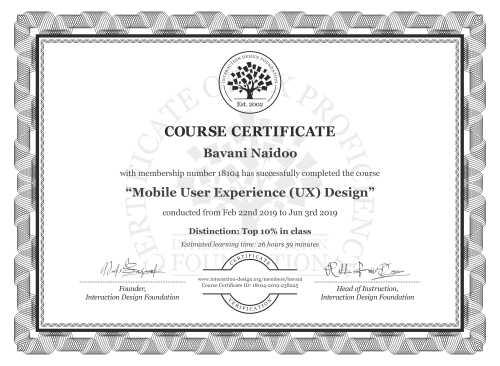 Bavani Naidoo's Course Certificate: Mobile User Experience (UX) Design